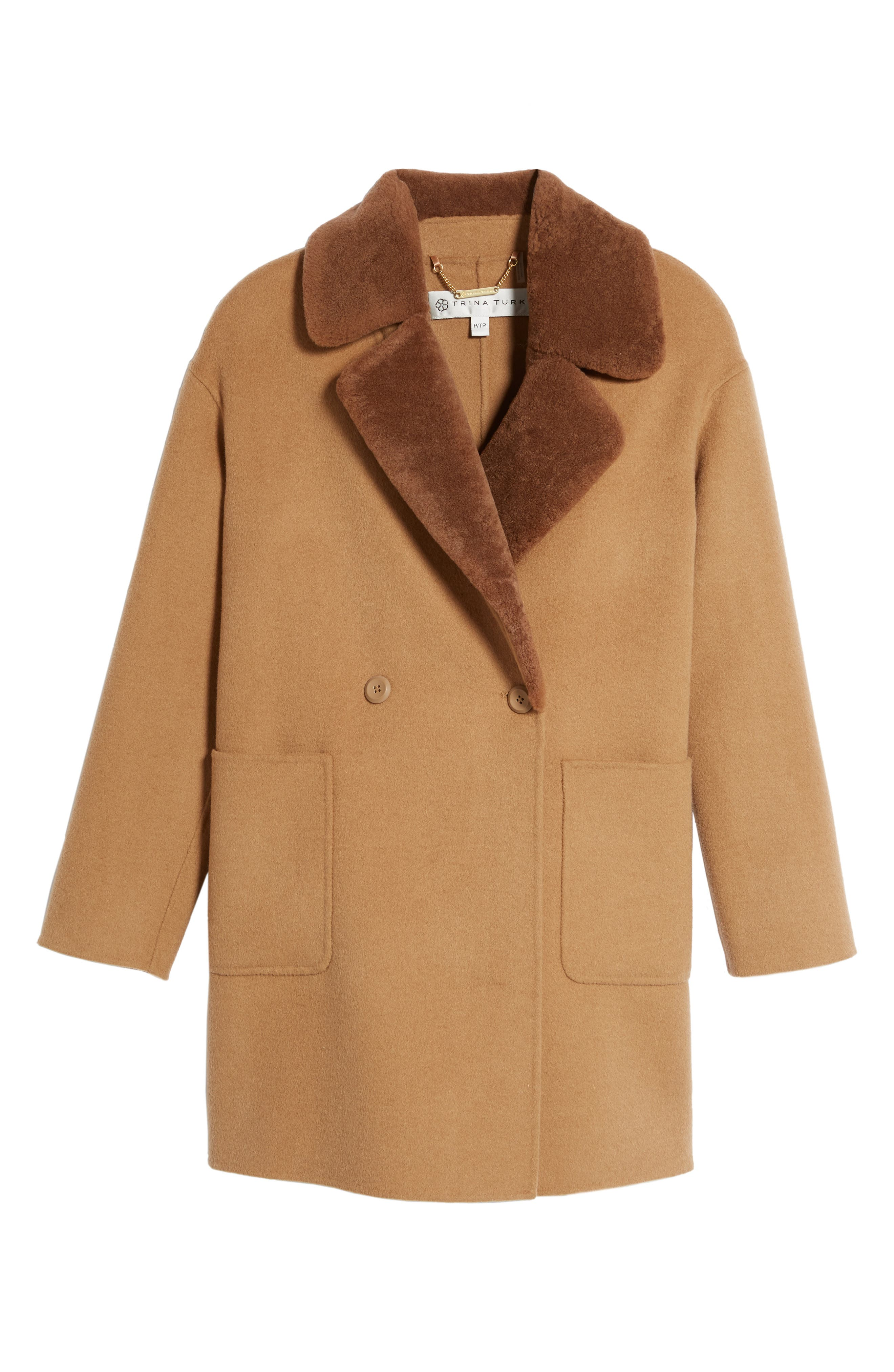 Dawn Genuine Shearling Collar Double Face Coat,                             Alternate thumbnail 10, color,
