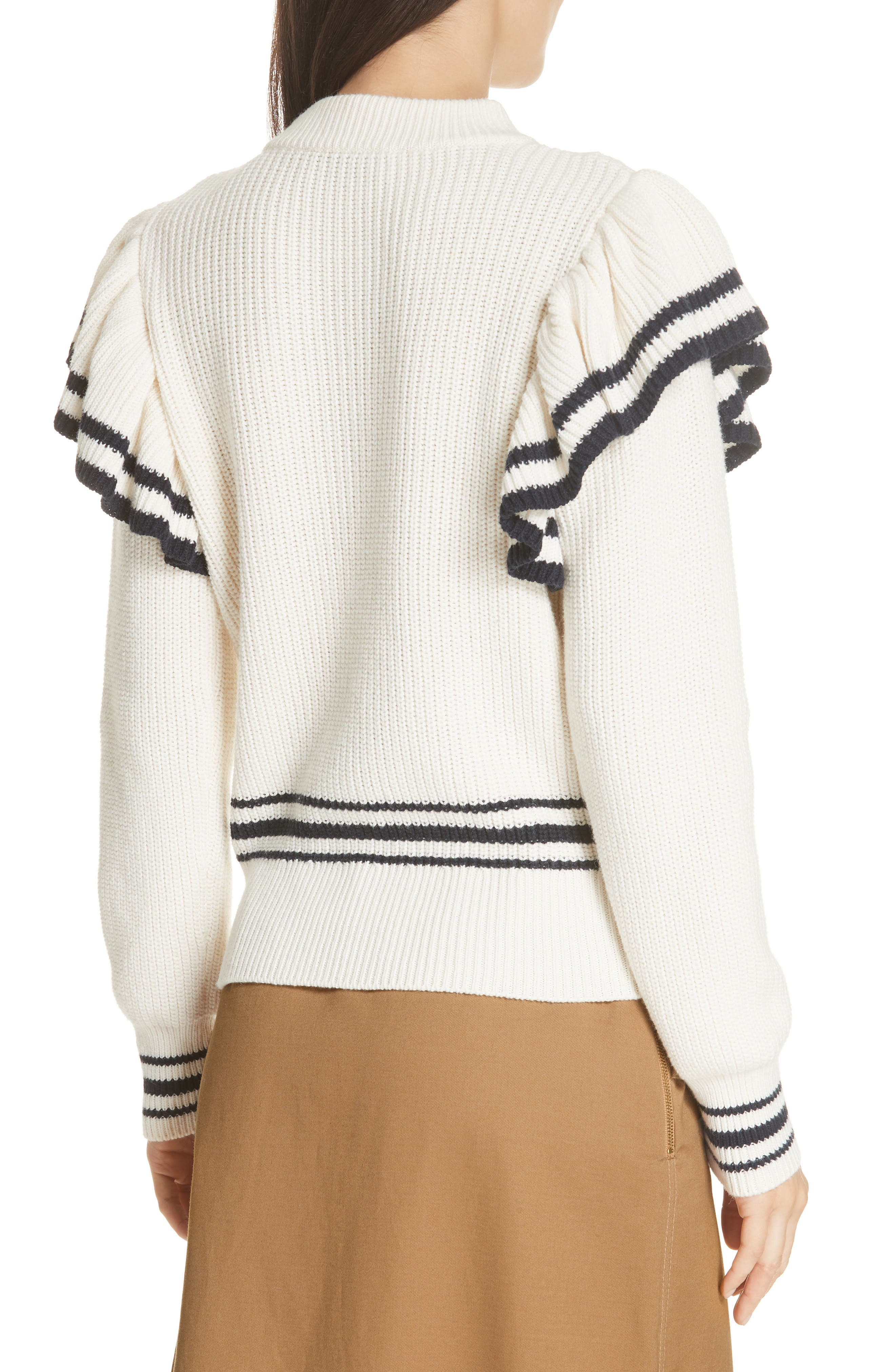 Stripe Ruffle Trim Sweater,                             Alternate thumbnail 2, color,                             IVORY-NAVY