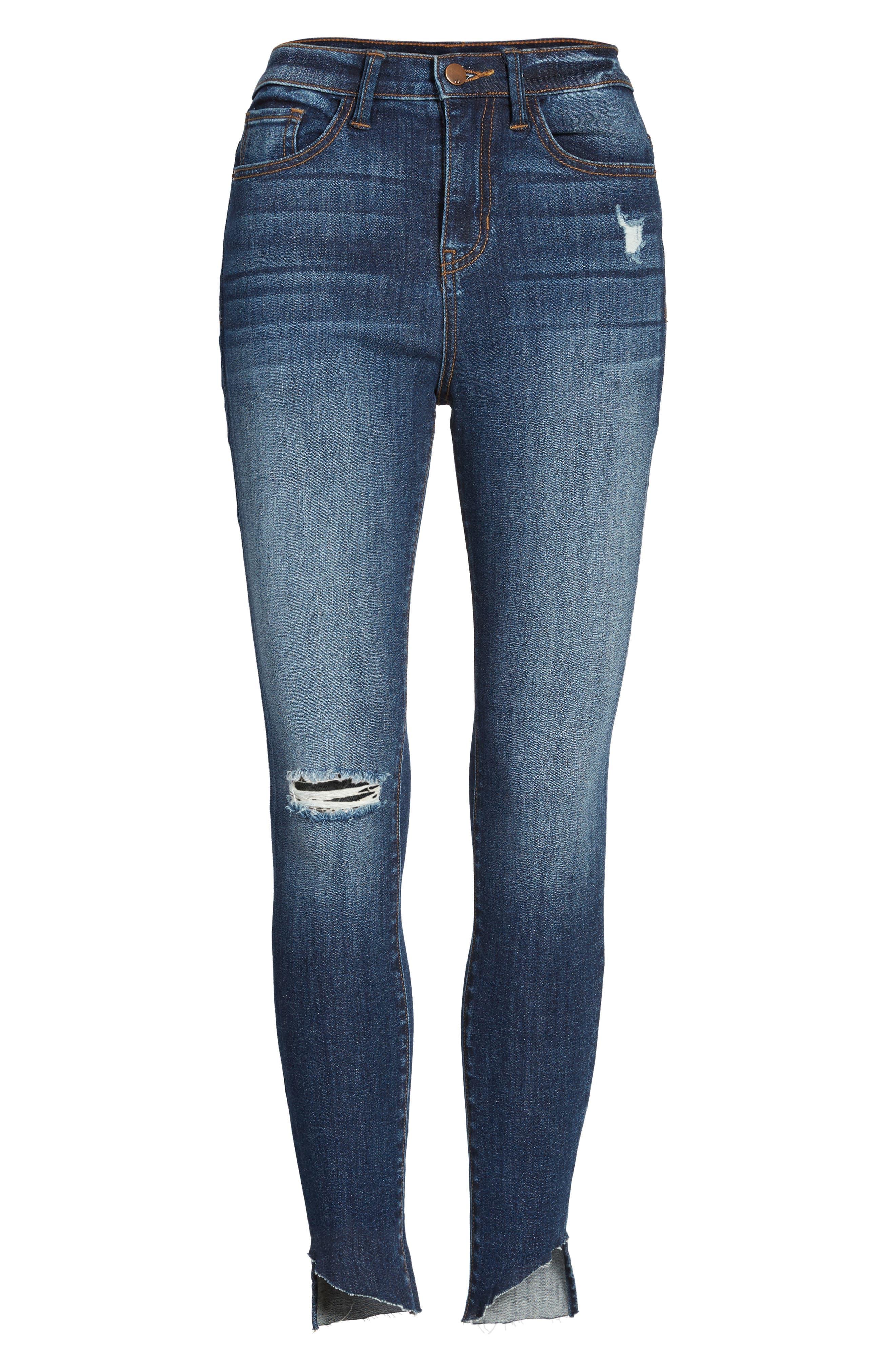 Angled Step Hem High Waist Skinny Jeans,                             Alternate thumbnail 6, color,                             420