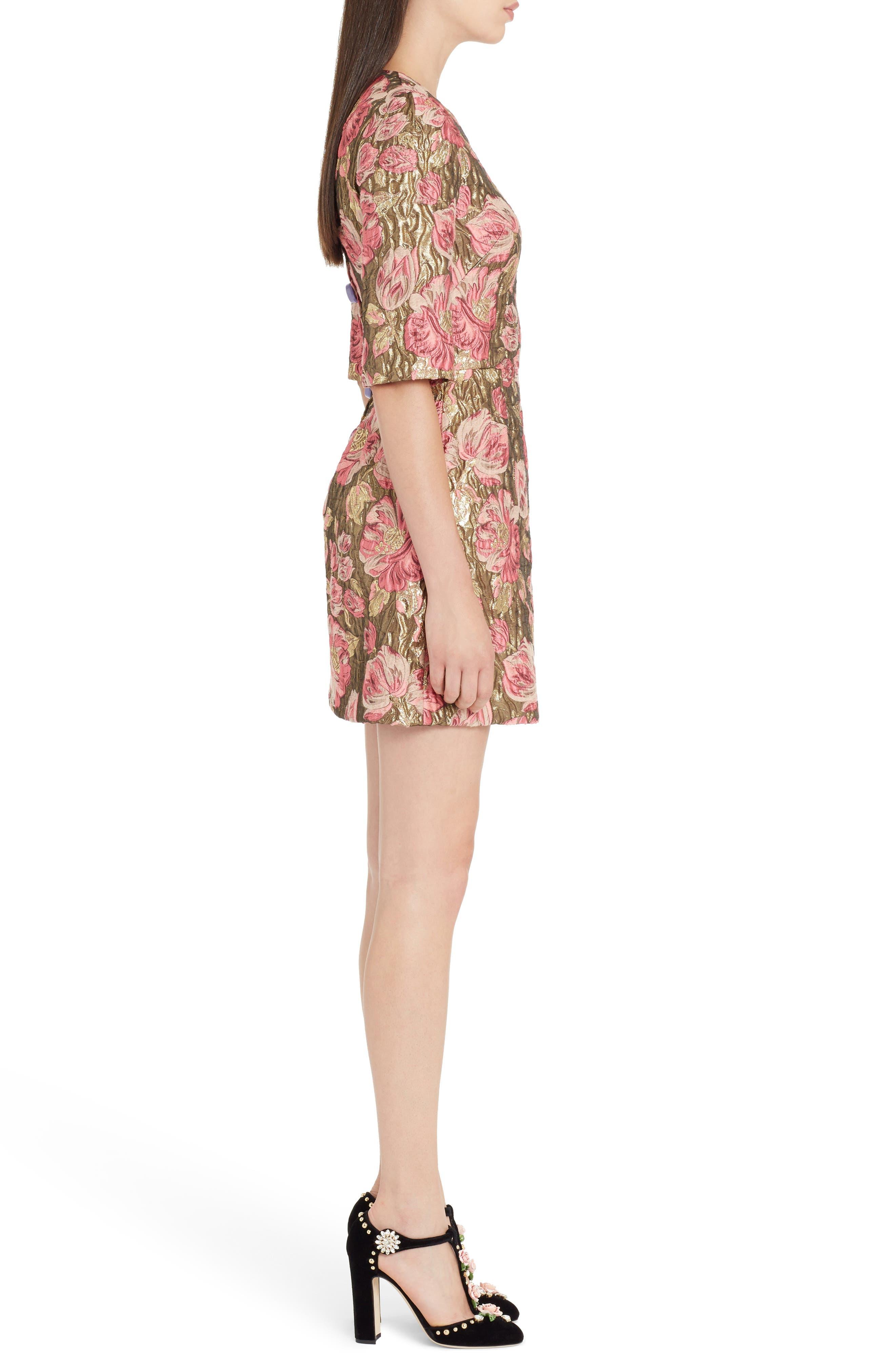 Heart Patch Metallic Floral Jacquard Dress,                             Alternate thumbnail 3, color,