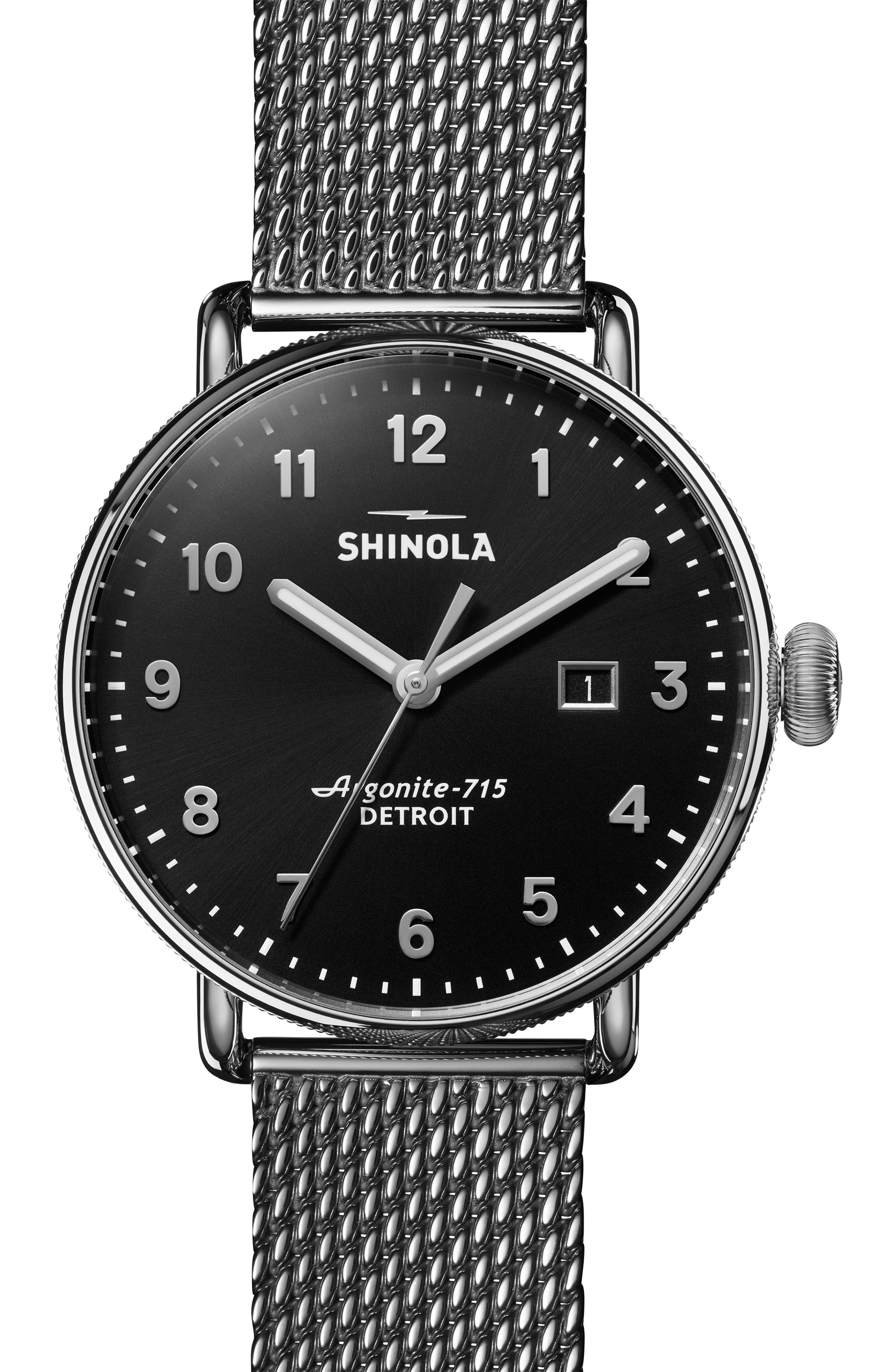 The Canfield Mesh Bracelet Watch, 43mm,                             Main thumbnail 1, color,                             GUNMETAL/ BLACK/ GUNMETAL