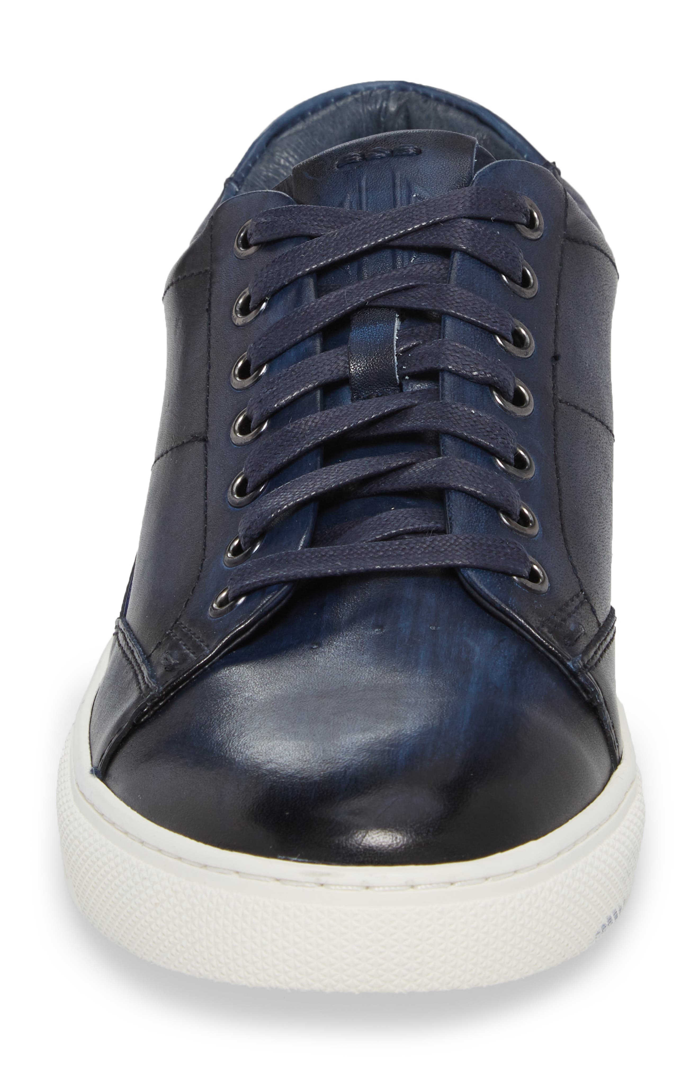 Sweeney Low Top Sneaker,                             Alternate thumbnail 4, color,                             NAVY LEATHER