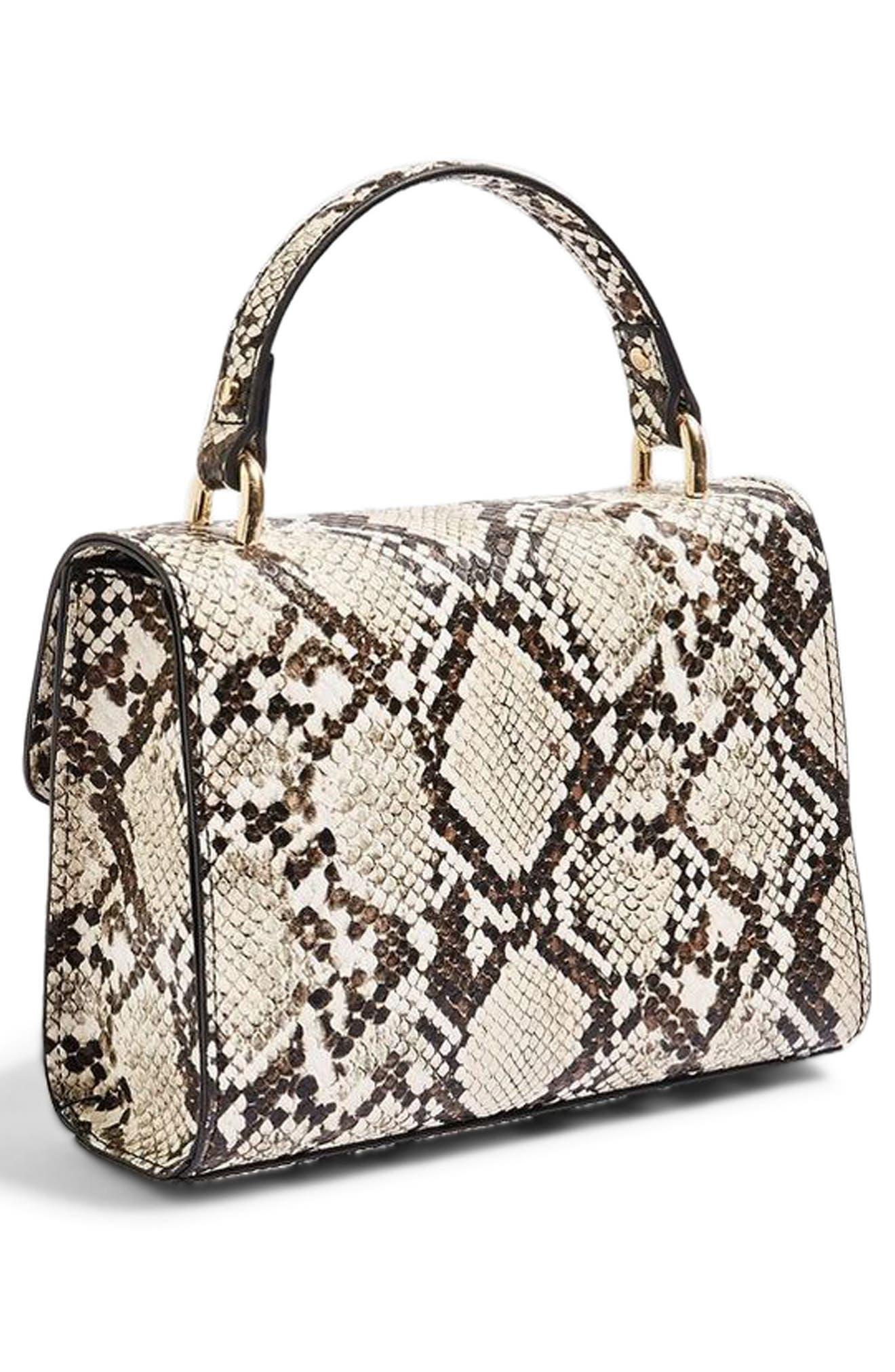 Mini Marissa Snake Embossed Top Handle Bag,                             Alternate thumbnail 3, color,                             250