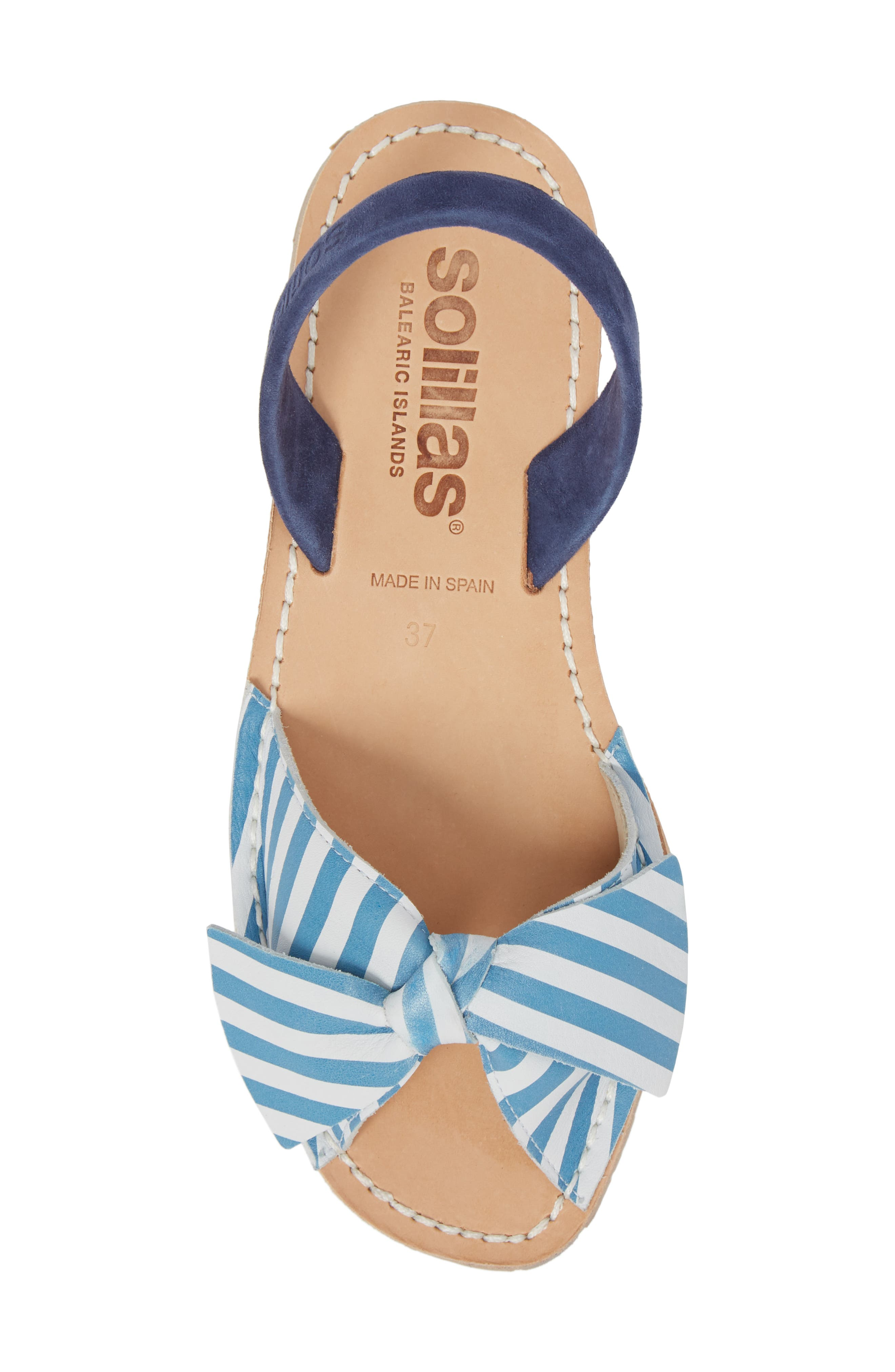 Bow Sandal,                             Alternate thumbnail 5, color,                             BLUE AND WHITE