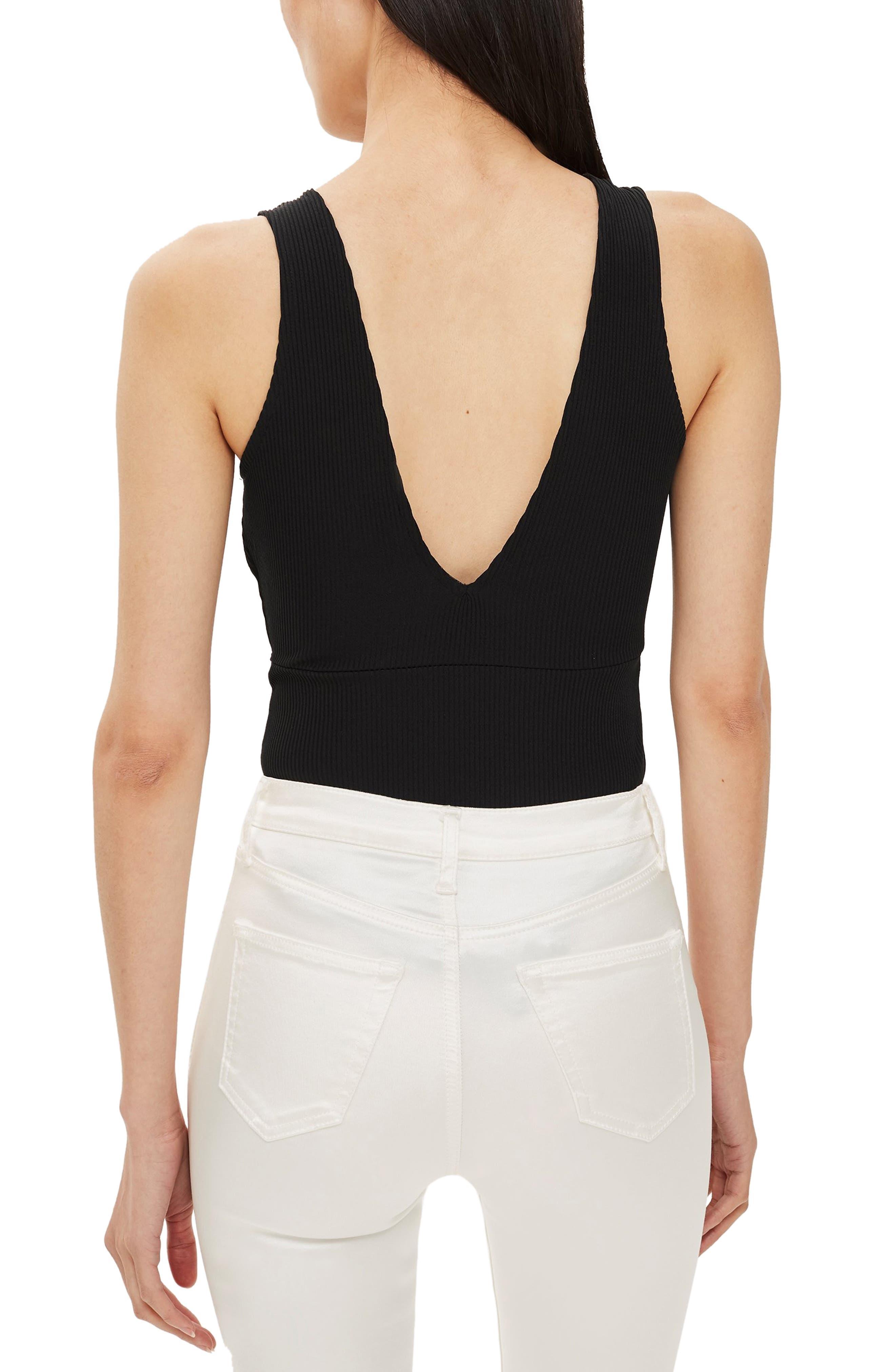 Lace Plunge Bodysuit,                             Alternate thumbnail 2, color,                             BLACK