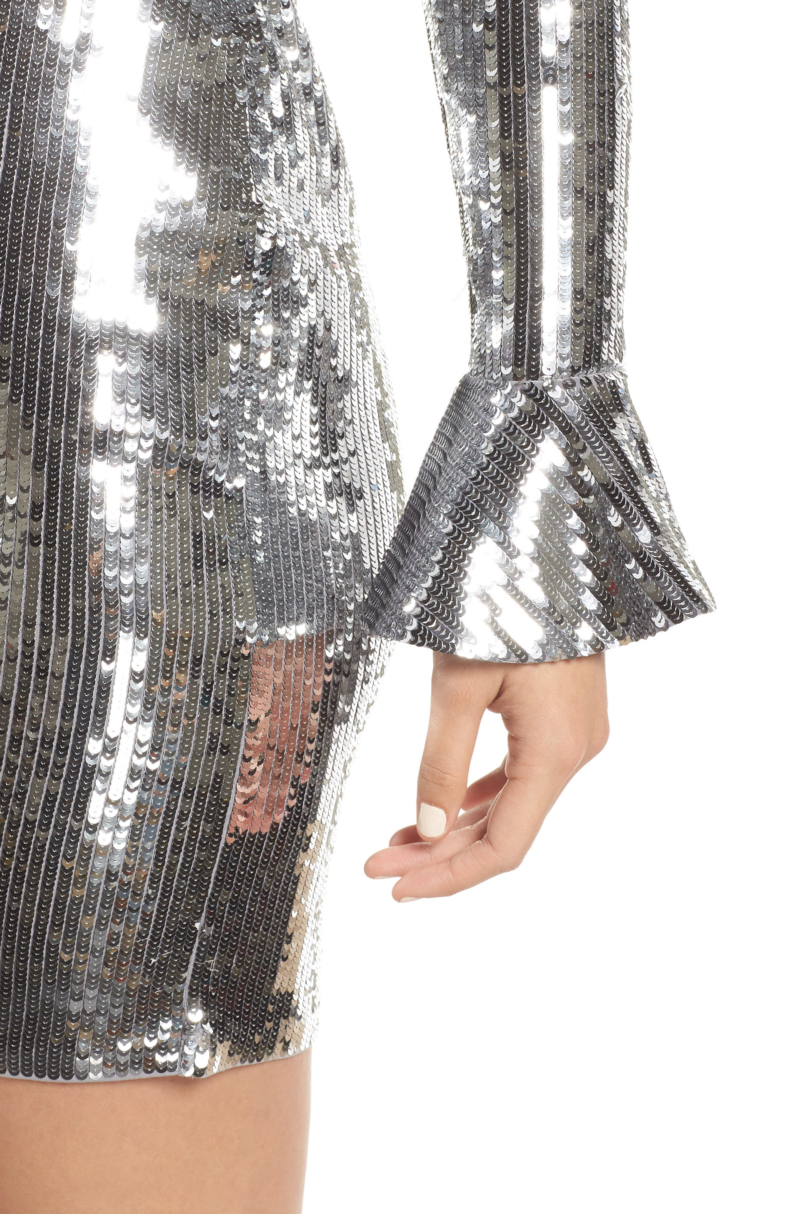 Sequin Ruffle Cuff Dress,                             Alternate thumbnail 4, color,                             CONCRETE