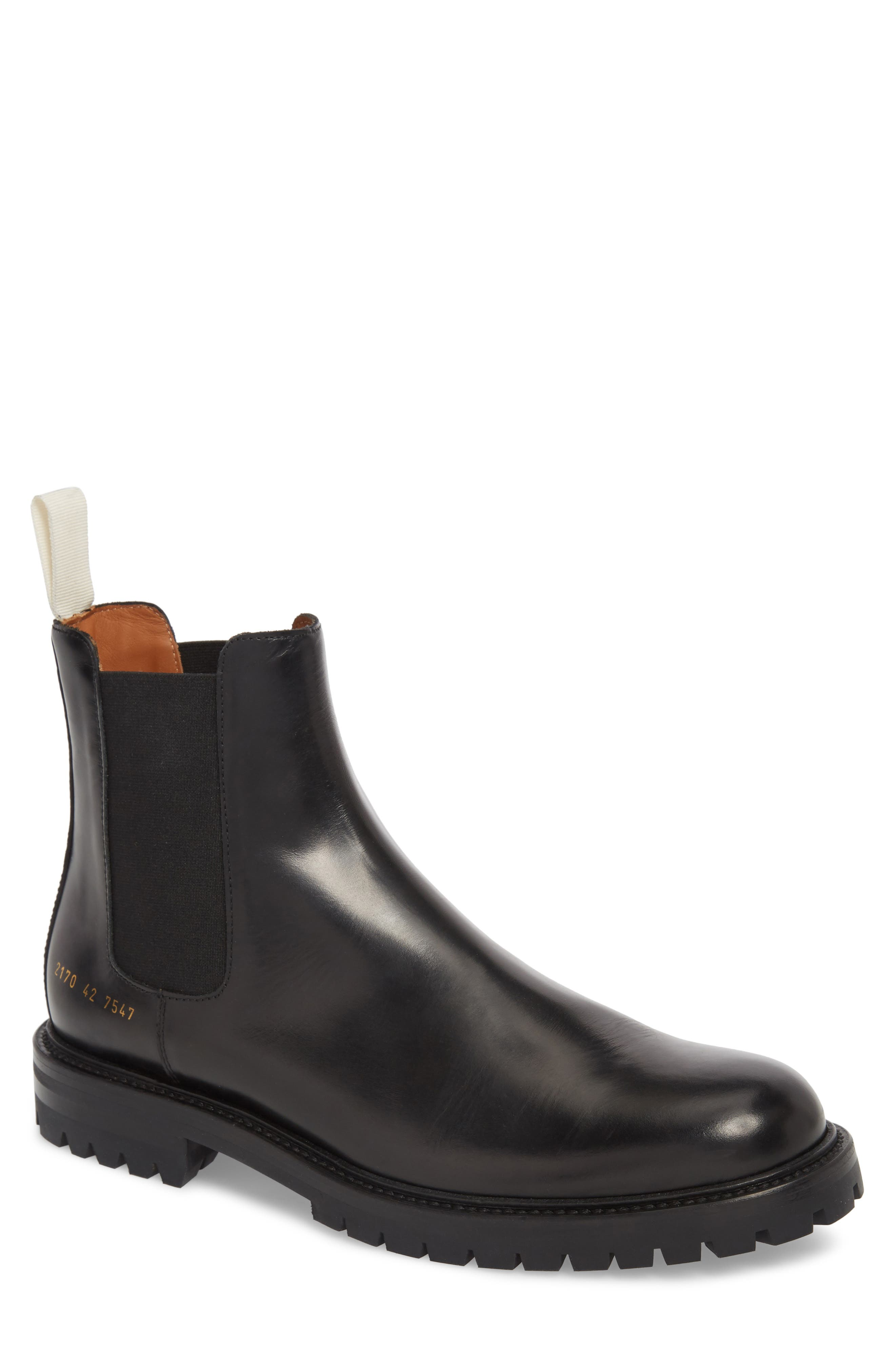 COMMON PROJECTS,                             Lugged Chelsea Boot,                             Main thumbnail 1, color,                             001