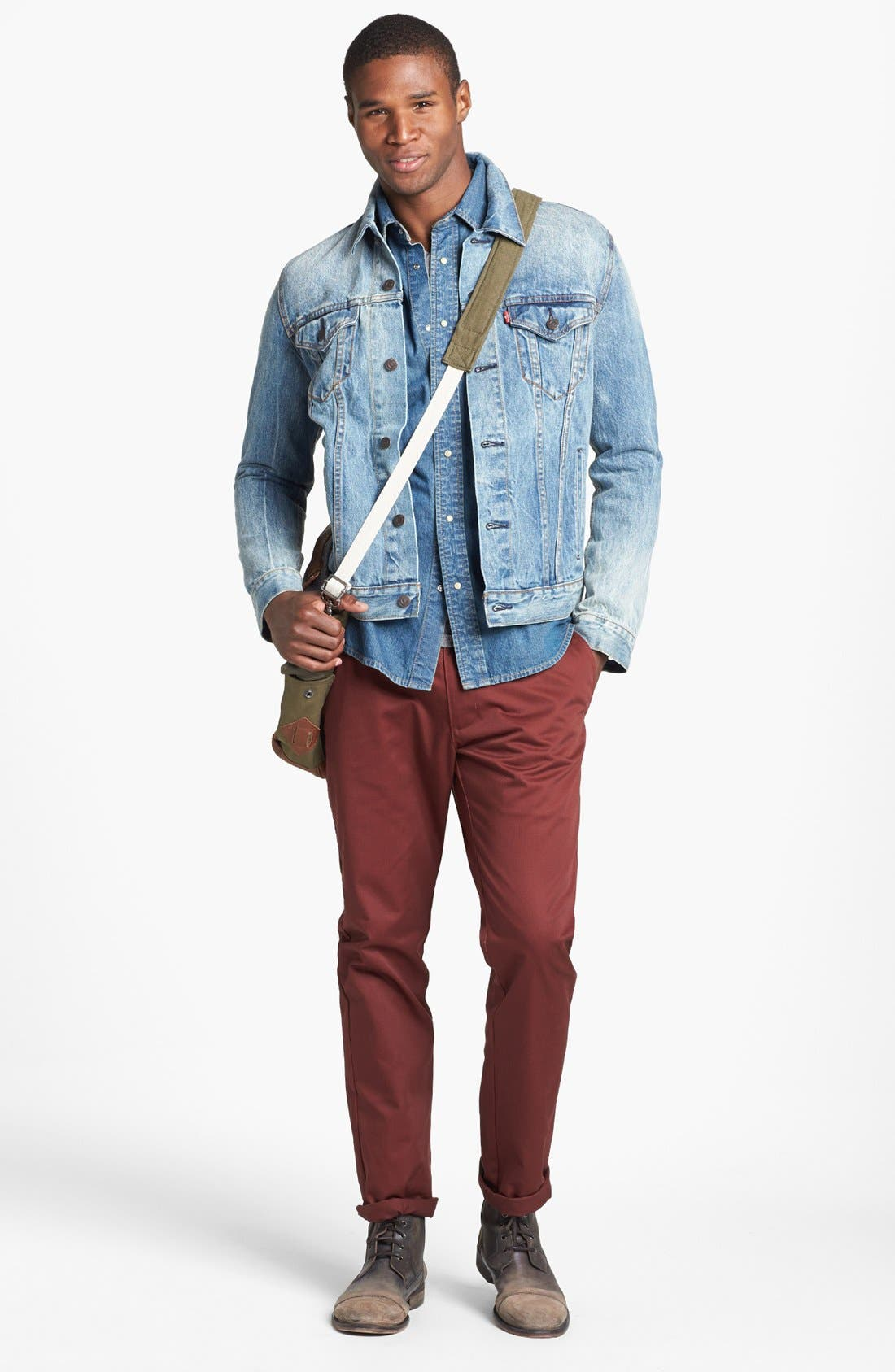 LEVI'S<SUP>®</SUP>,                             'Barstow' Western Denim Shirt,                             Alternate thumbnail 5, color,                             462