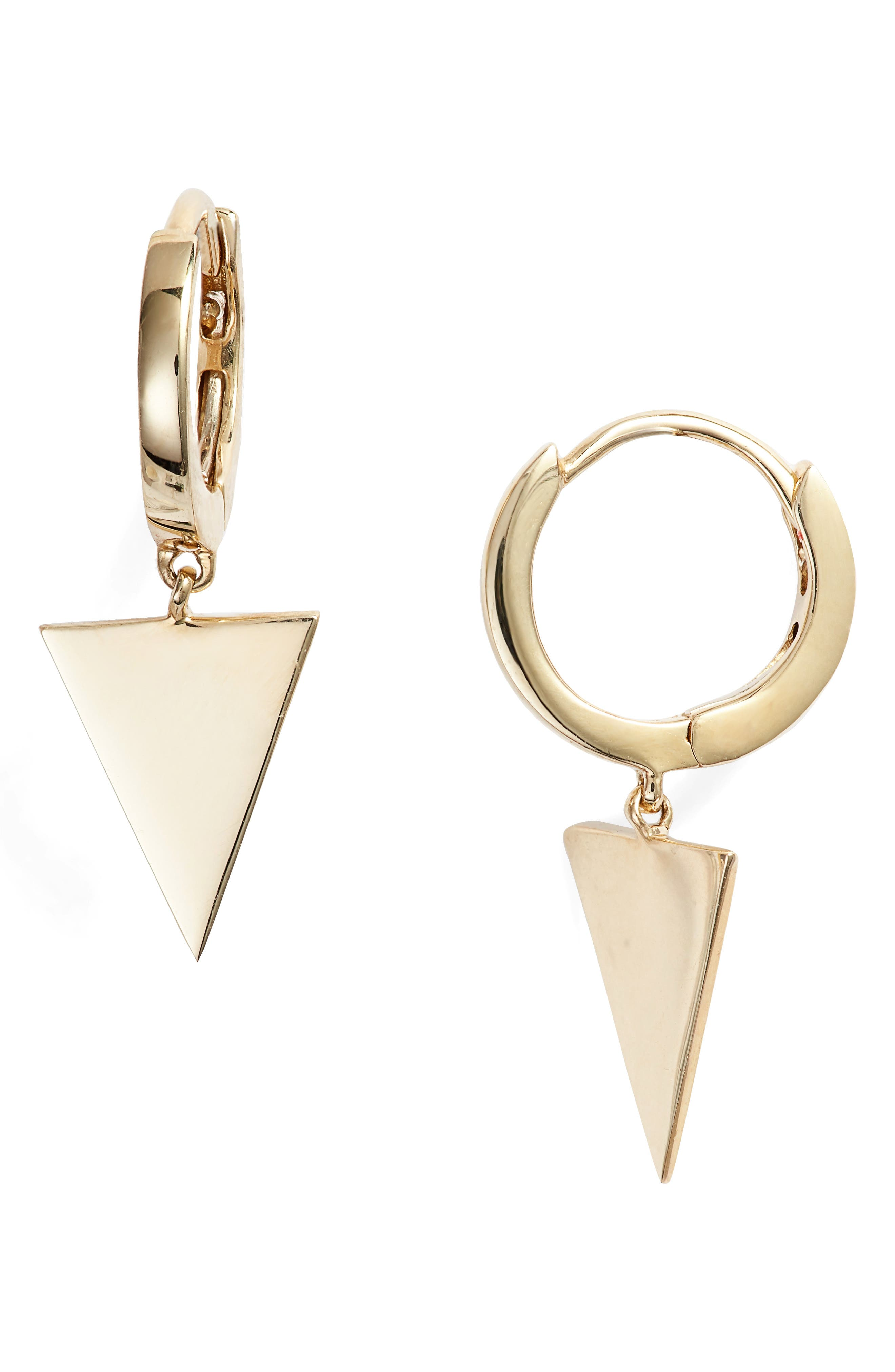 Simple Obsessions Triangle Drop Earrings, Main, color, YELLOW GOLD