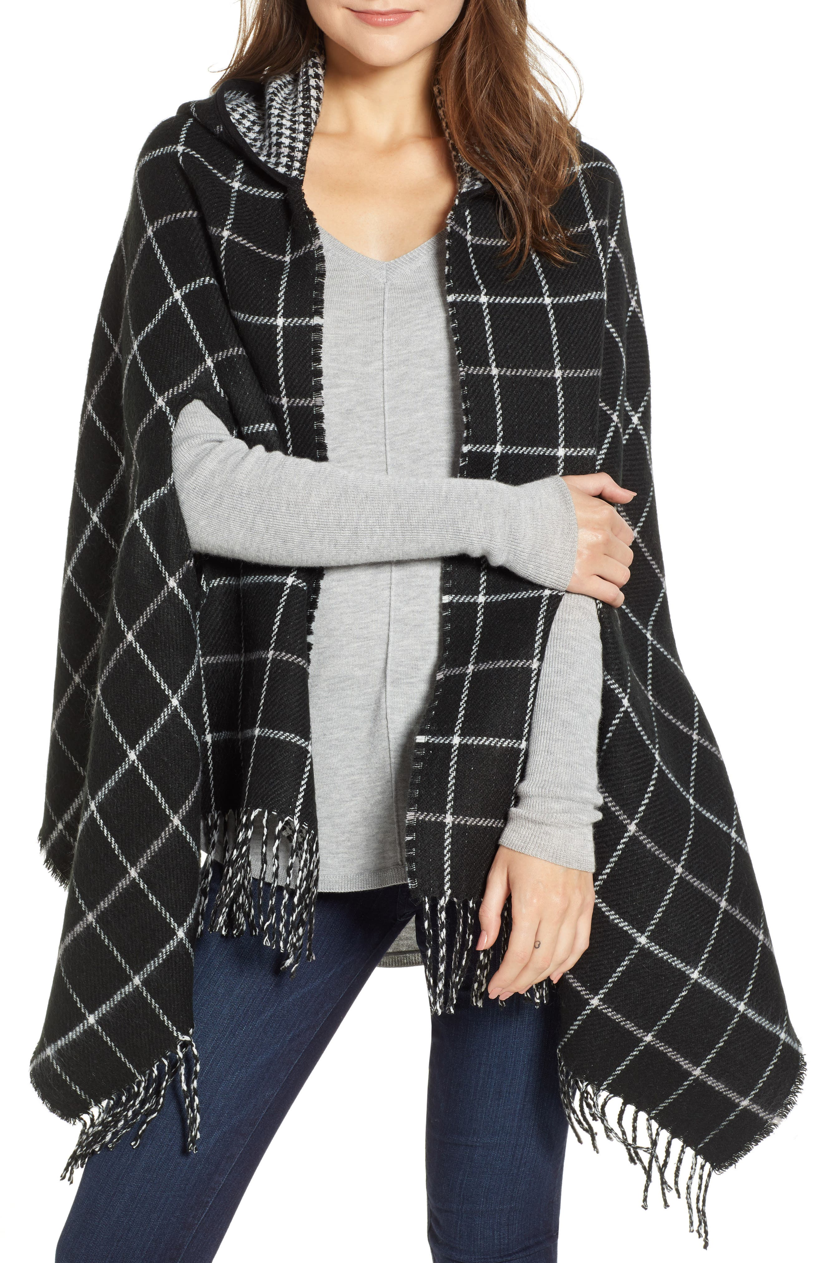 Reversible Hooded Cape,                         Main,                         color, BLACK COMBO