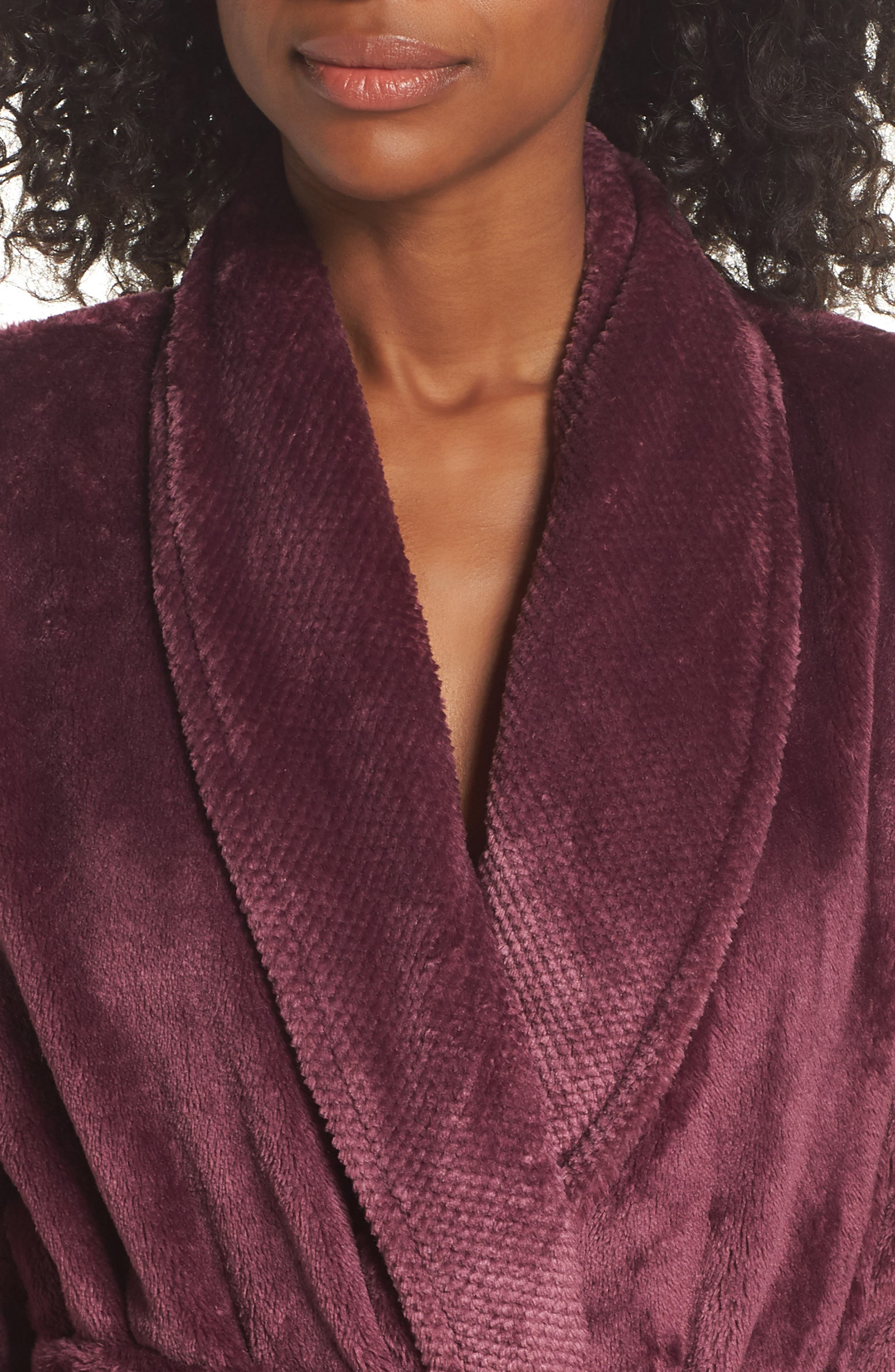 Nordstrom So Soft Plush Robe,                             Alternate thumbnail 4, color,                             PURPLE CRUSH