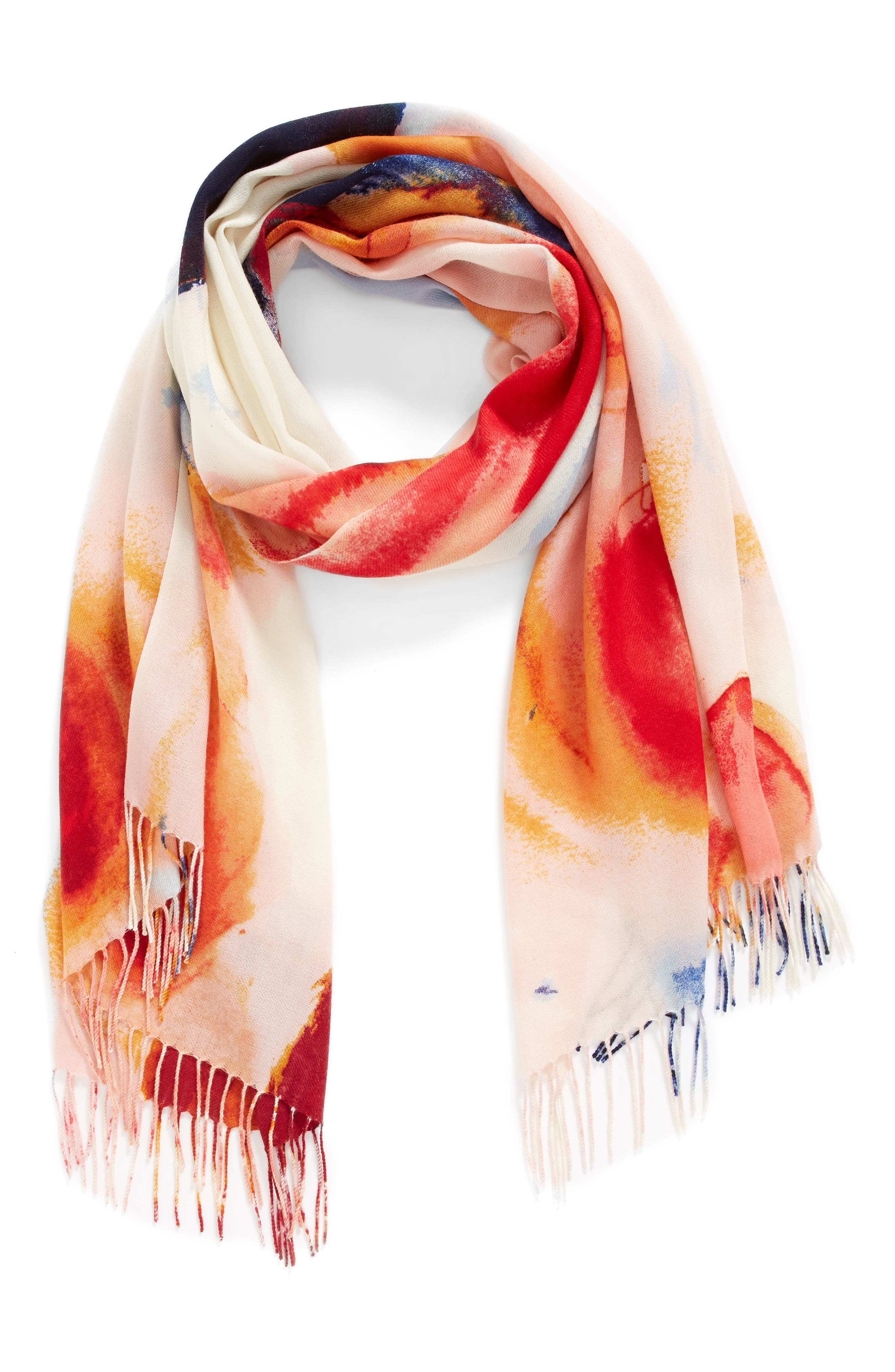 Tissue Print Wool & Cashmere Wrap Scarf,                             Alternate thumbnail 2, color,                             PINK FANTASY BRUSHSTROKES