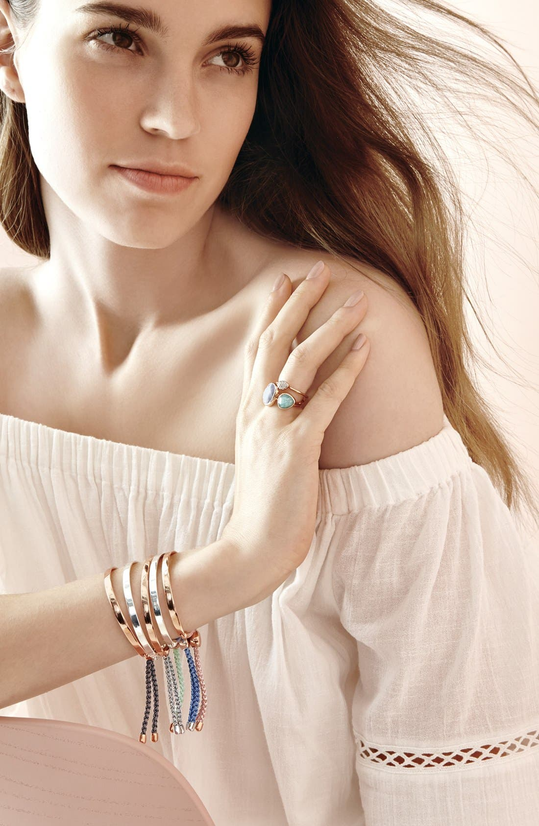 Siren Semiprecious Stone Stacking Ring,                             Alternate thumbnail 5, color,                             ROSE GOLD/ KYANITE