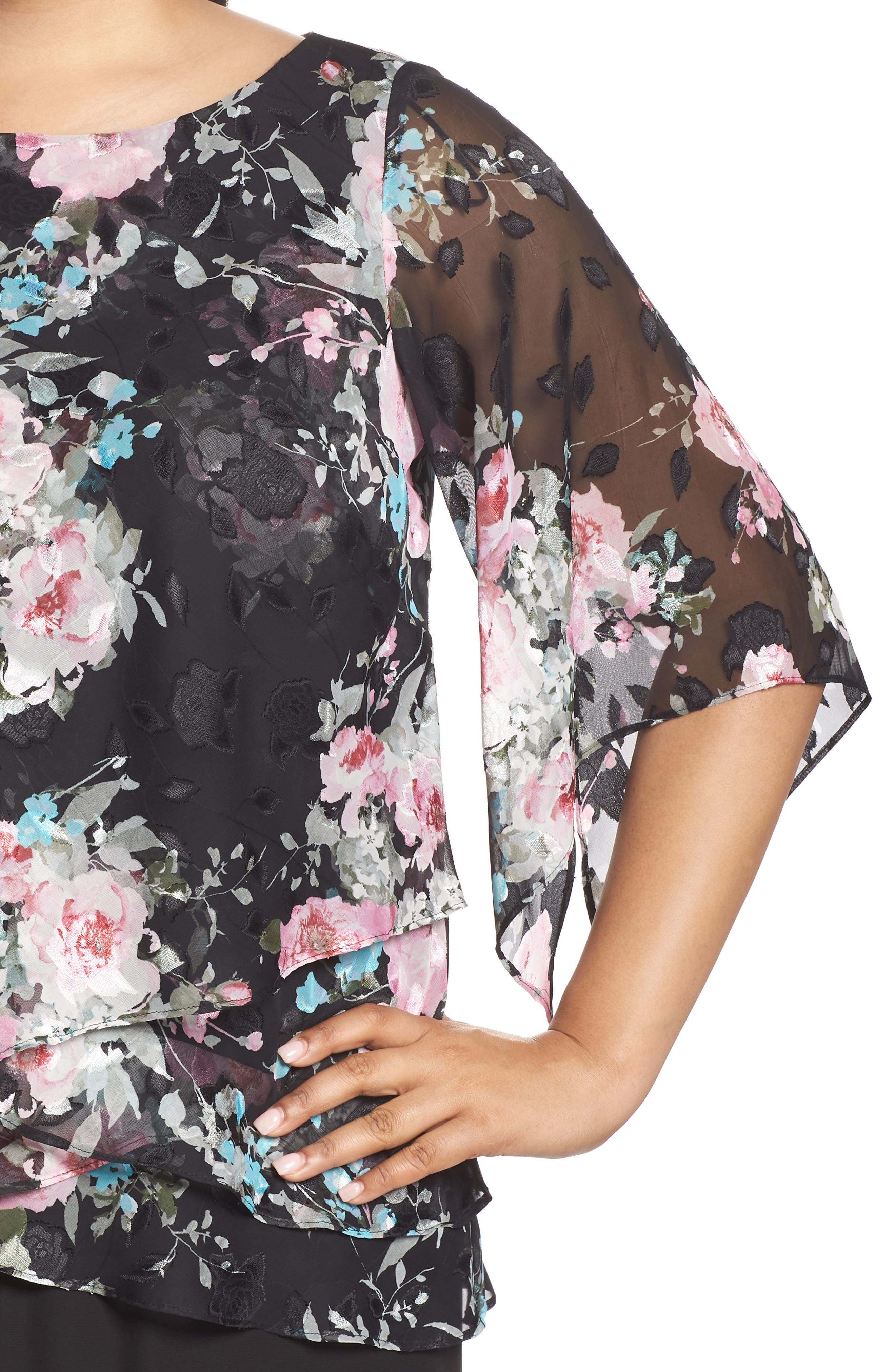 ALEX EVENINGS,                             Burnout Floral Blouse,                             Alternate thumbnail 4, color,                             015