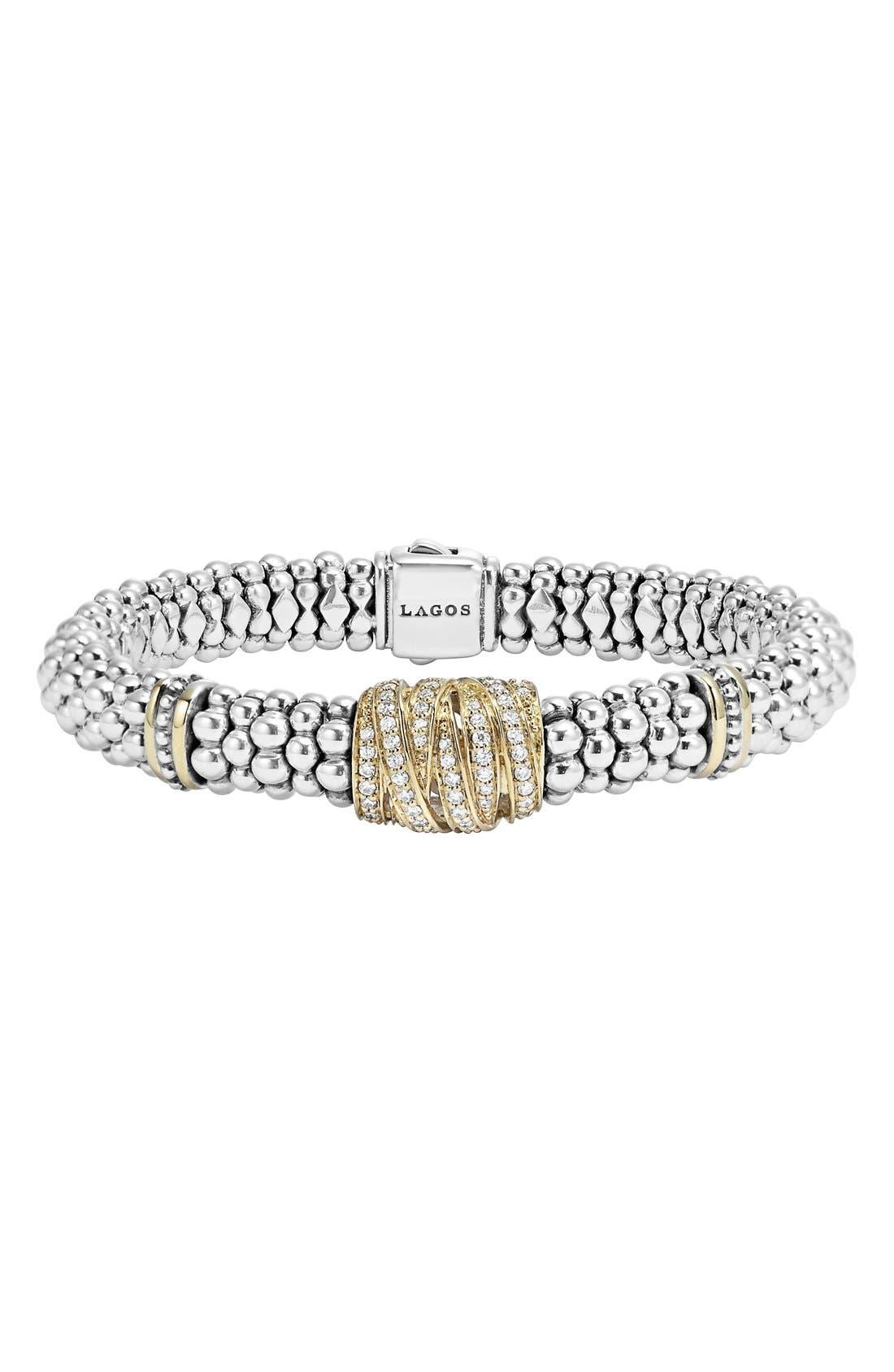 'Diamonds & Caviar' Diamond Rope Bracelet,                             Main thumbnail 1, color,                             040