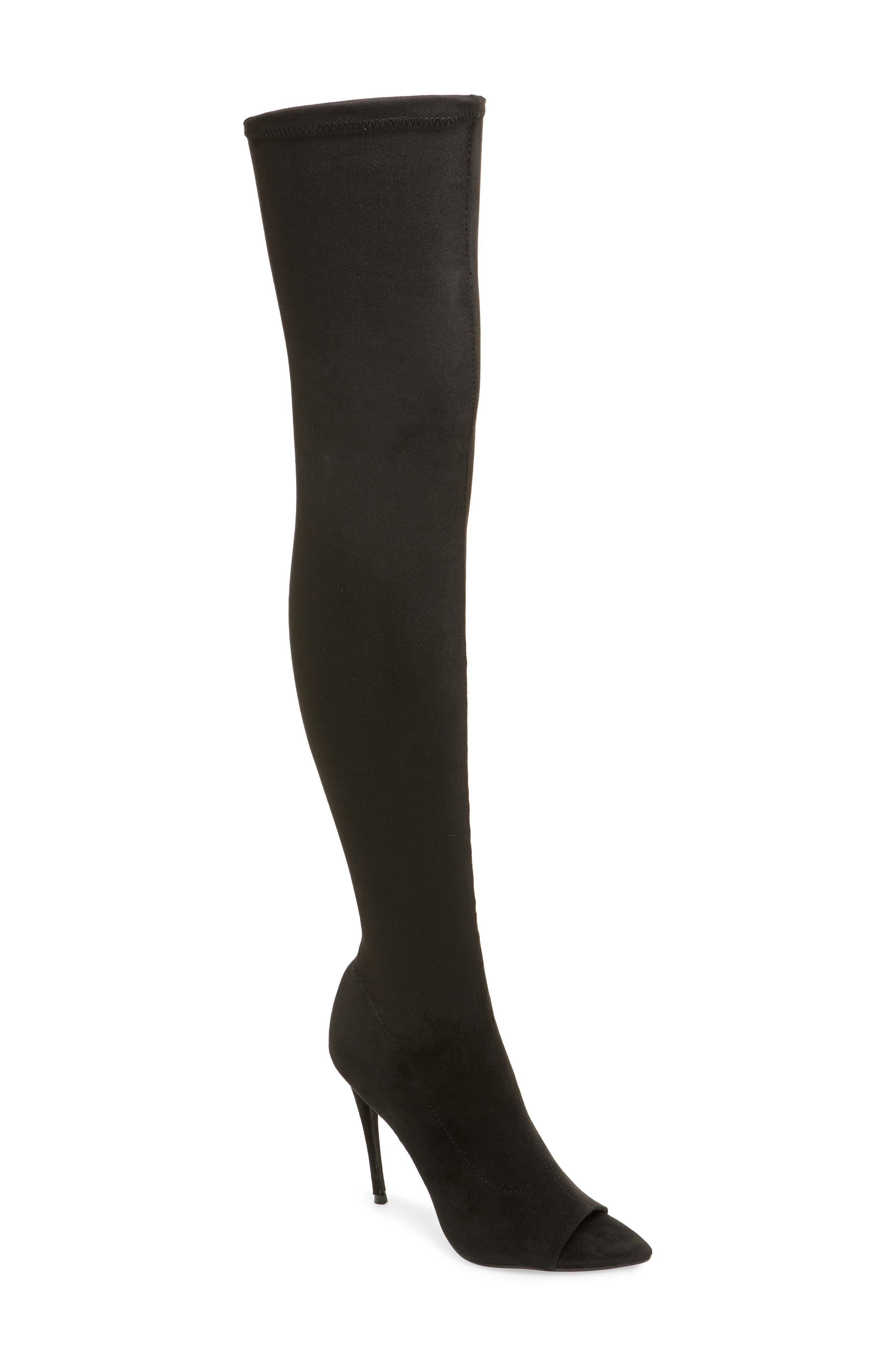 Forbidden Over the Knee Boot,                         Main,                         color, BLACK