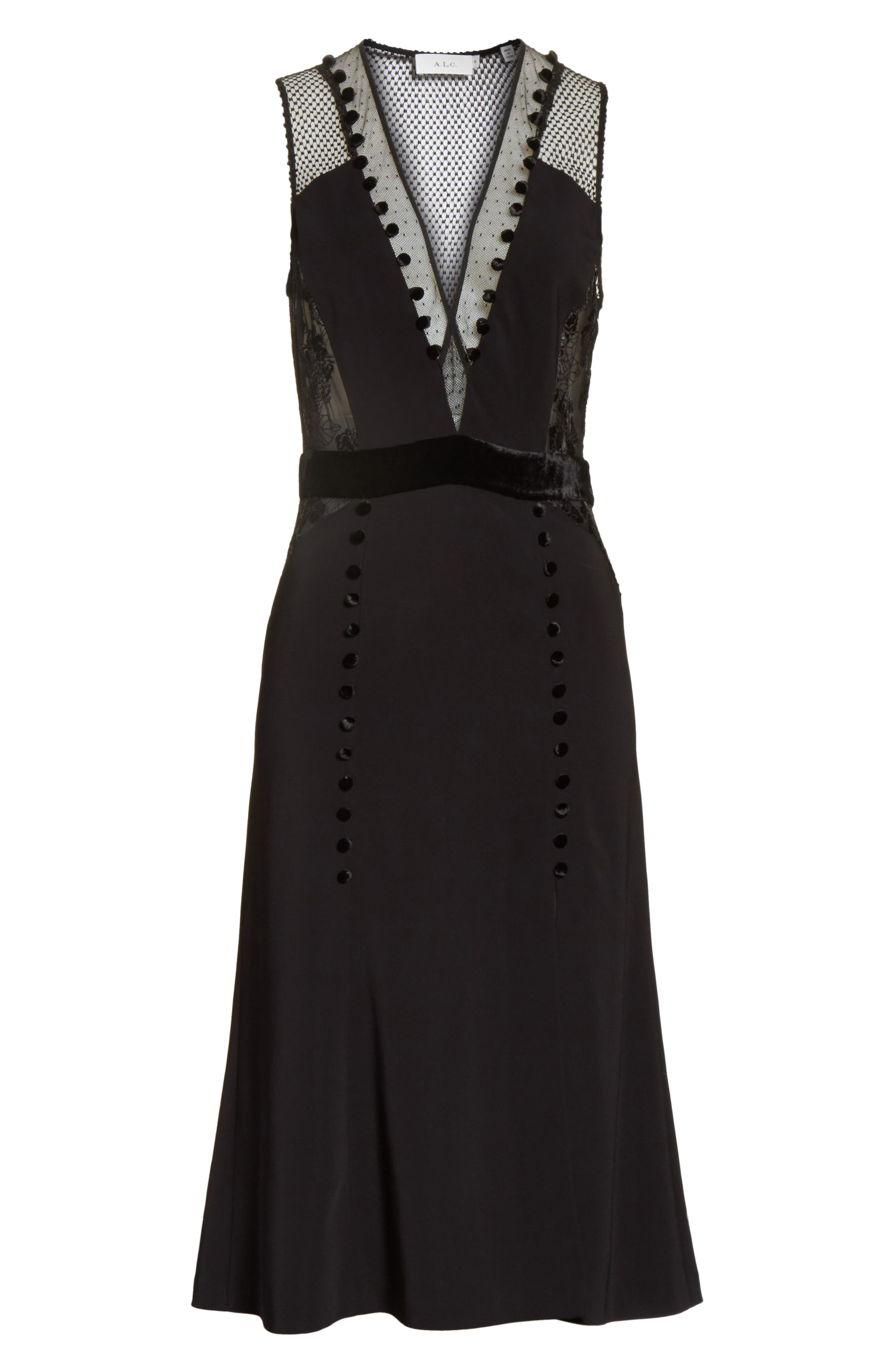 Harlow Velvet Button Dress,                             Alternate thumbnail 6, color,