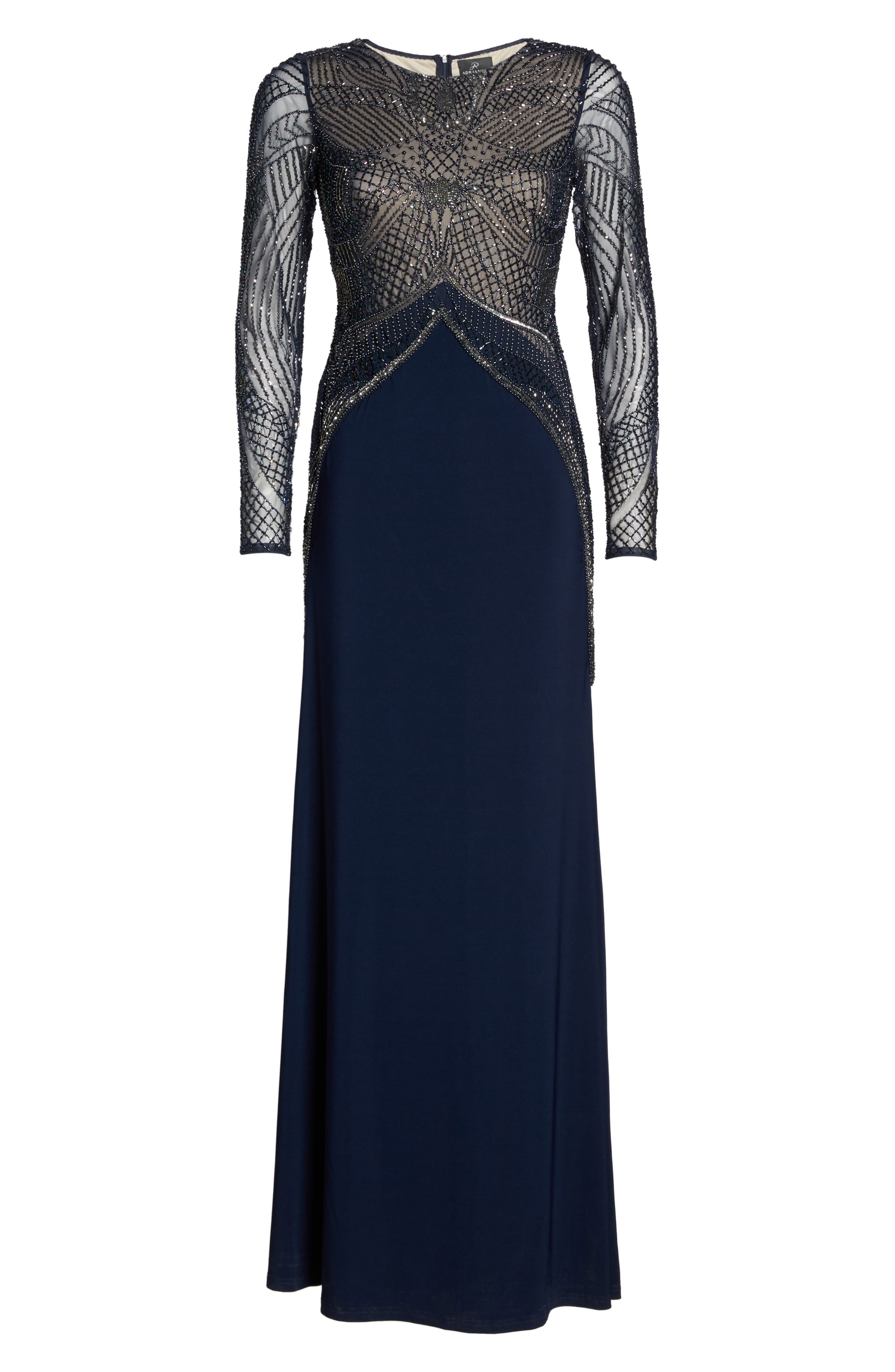 Beaded Long Sleeve Gown,                             Alternate thumbnail 6, color,                             414