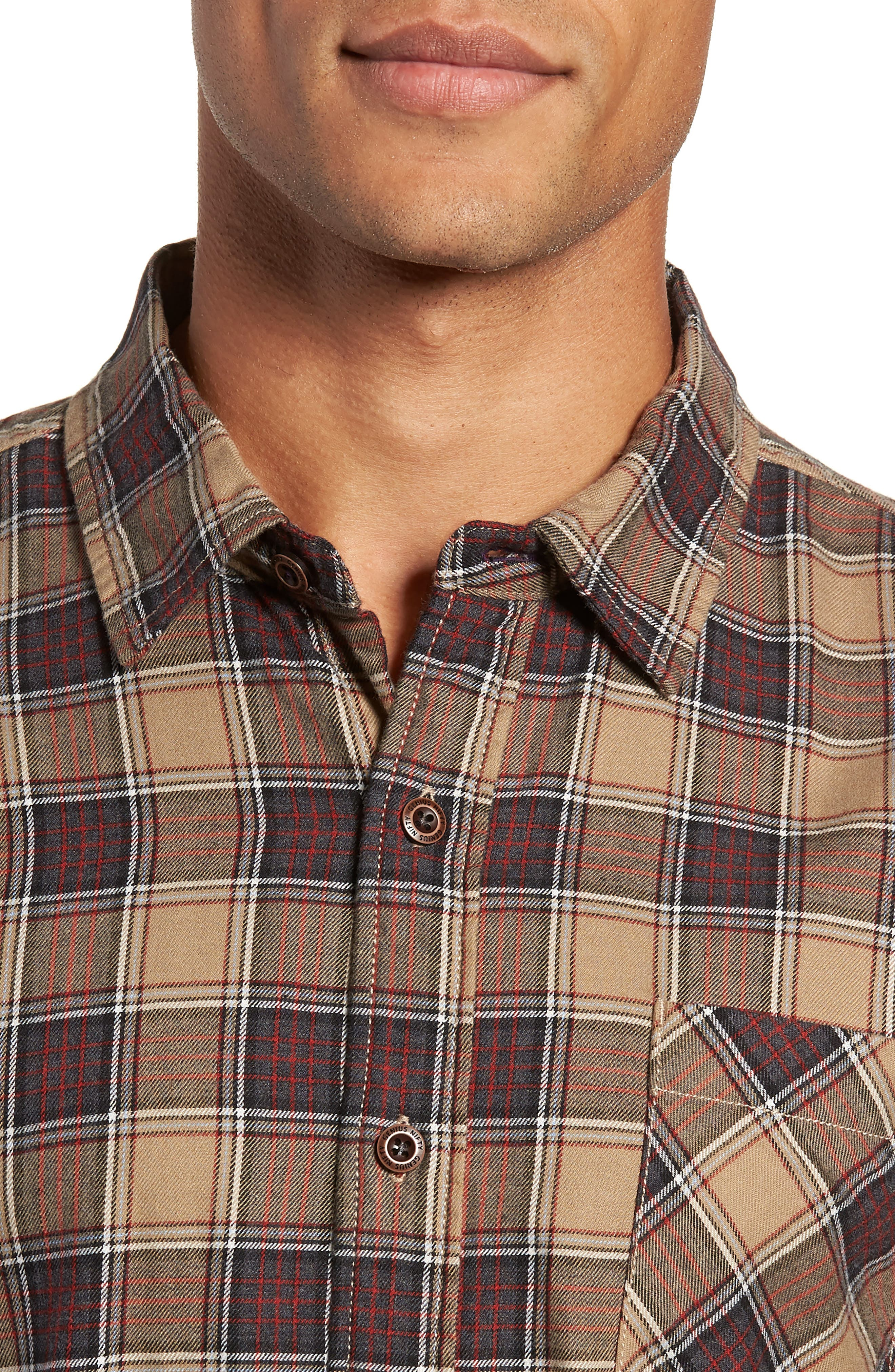 Truman Check Sport Shirt,                             Alternate thumbnail 2, color,                             GREY/ GOLD/ RED