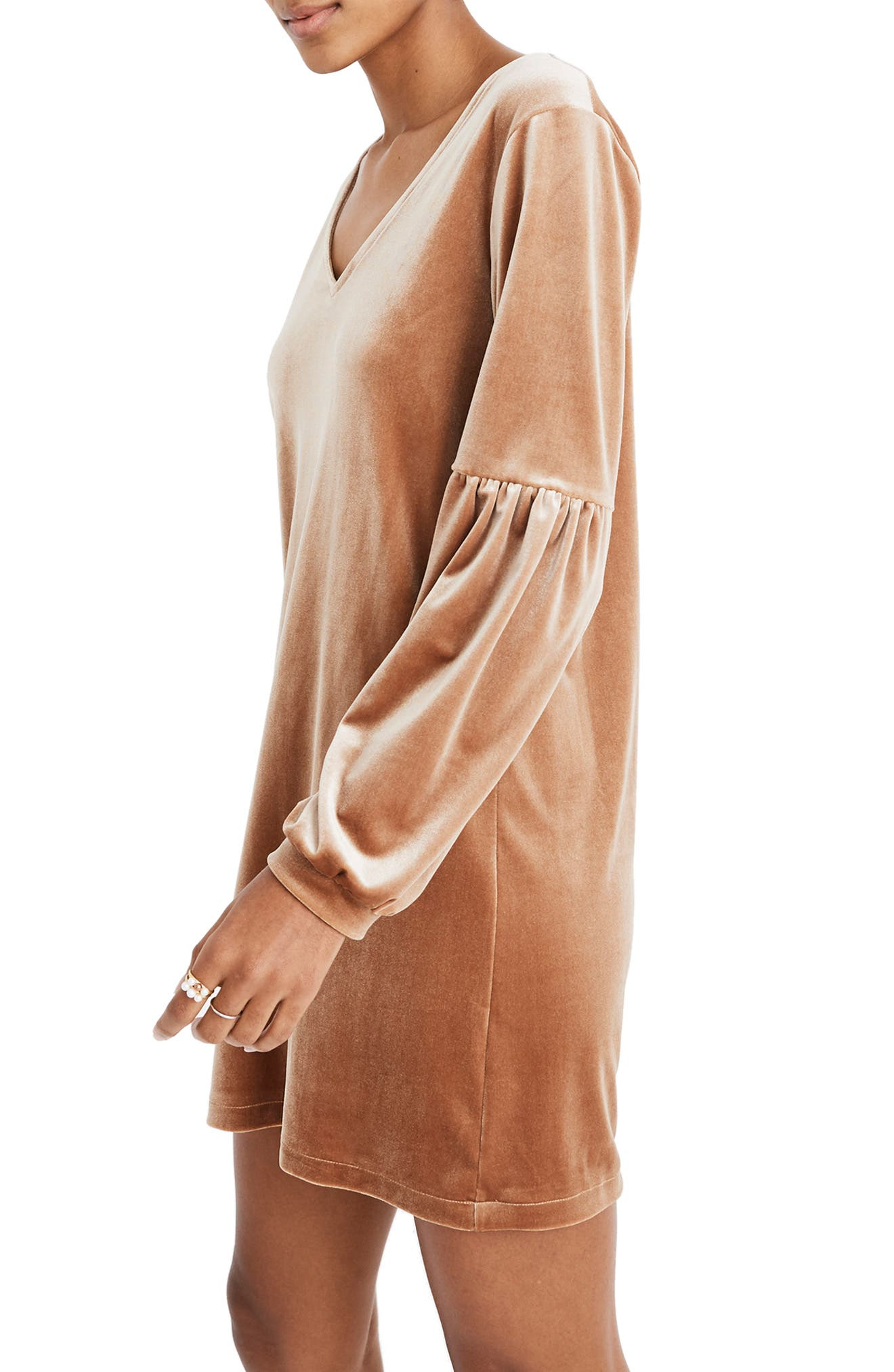 Balloon Sleeve Velvet Dress,                             Alternate thumbnail 4, color,                             BURNT SIENNA