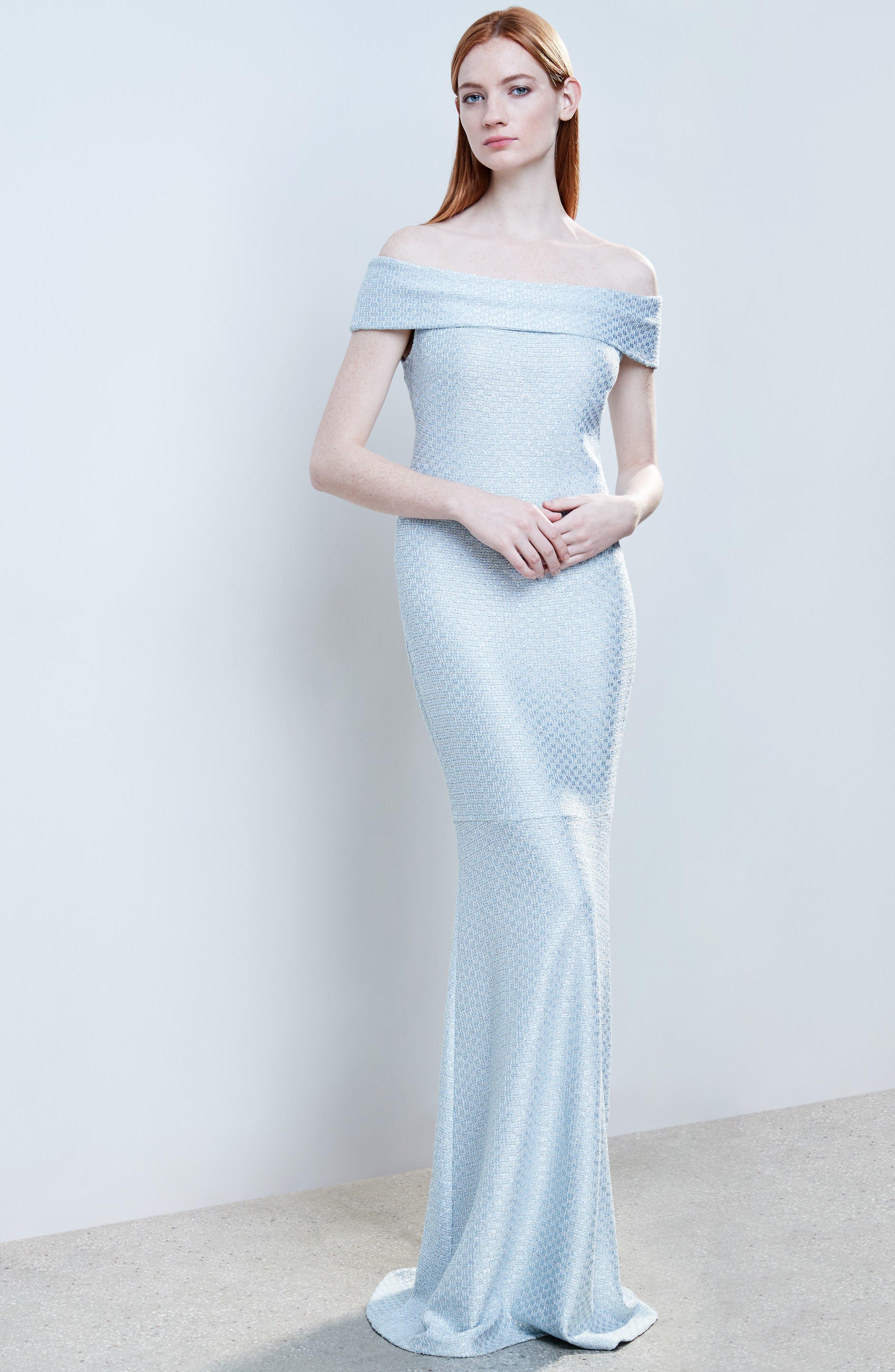 Hansh Sequin Knit Off the Shoulder Gown,                             Alternate thumbnail 7, color,                             MINT