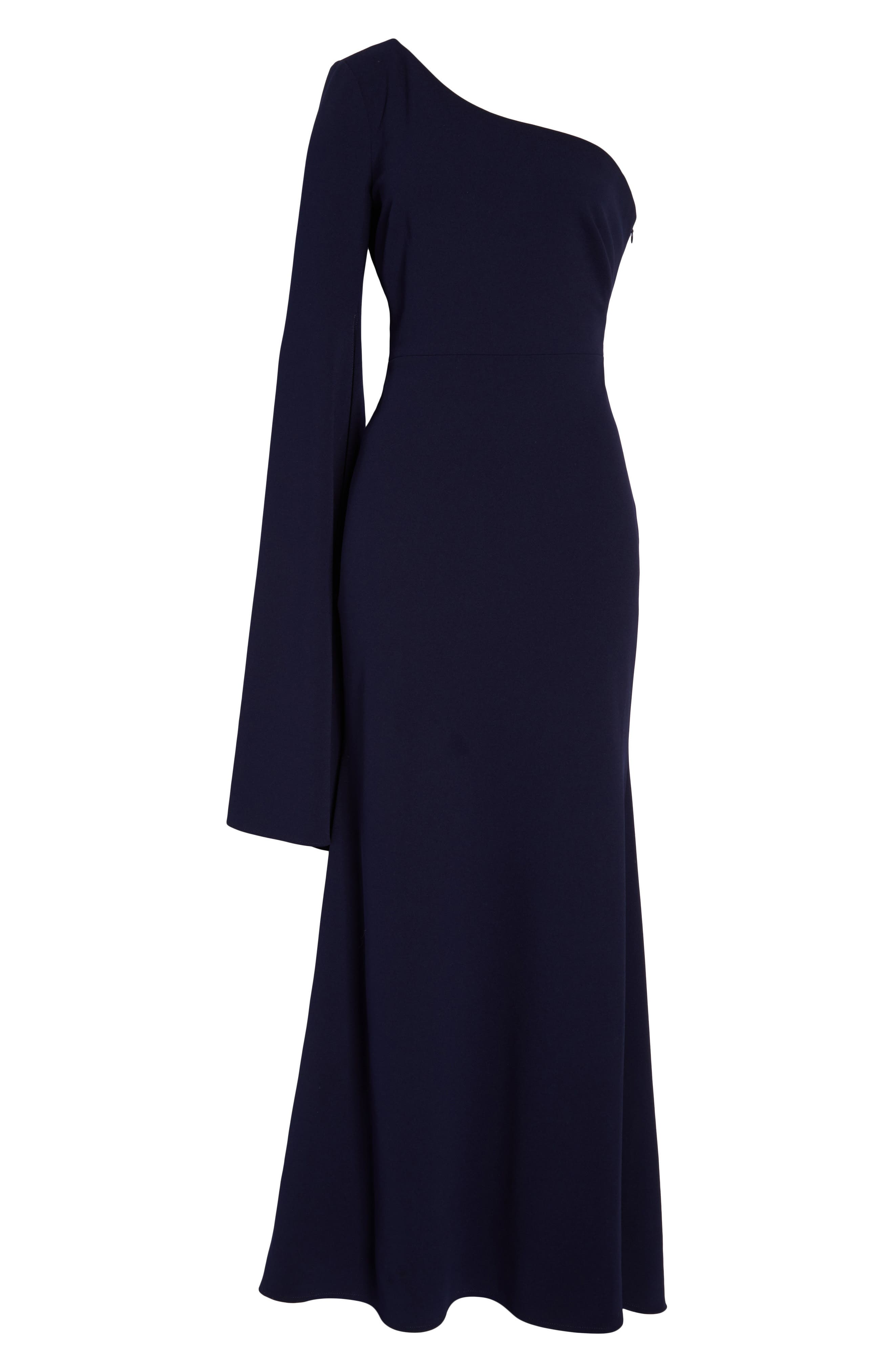 One-Shoulder Gown,                             Alternate thumbnail 7, color,                             NAVY