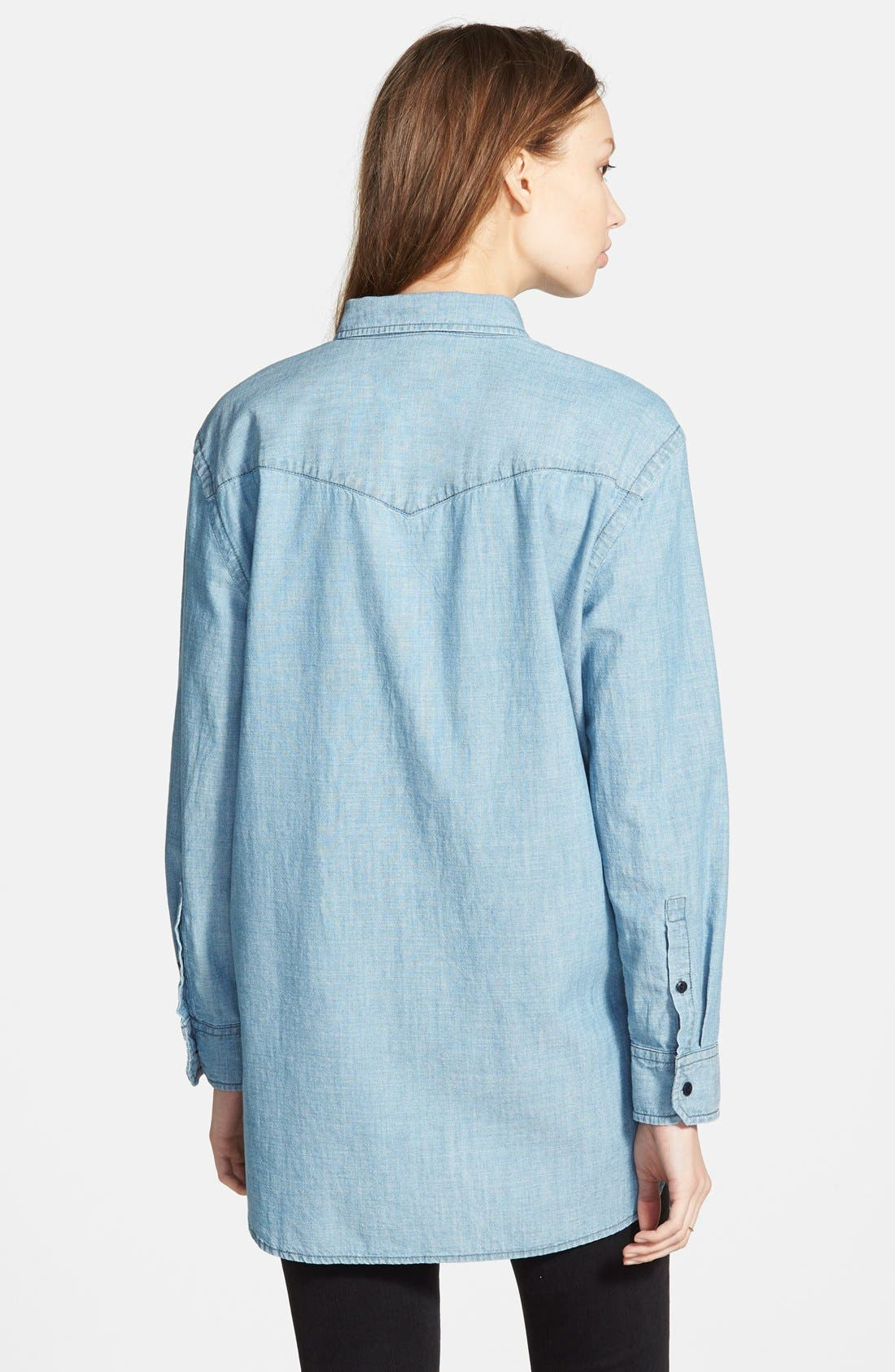 Oversize Chambray Shirt,                             Alternate thumbnail 5, color,