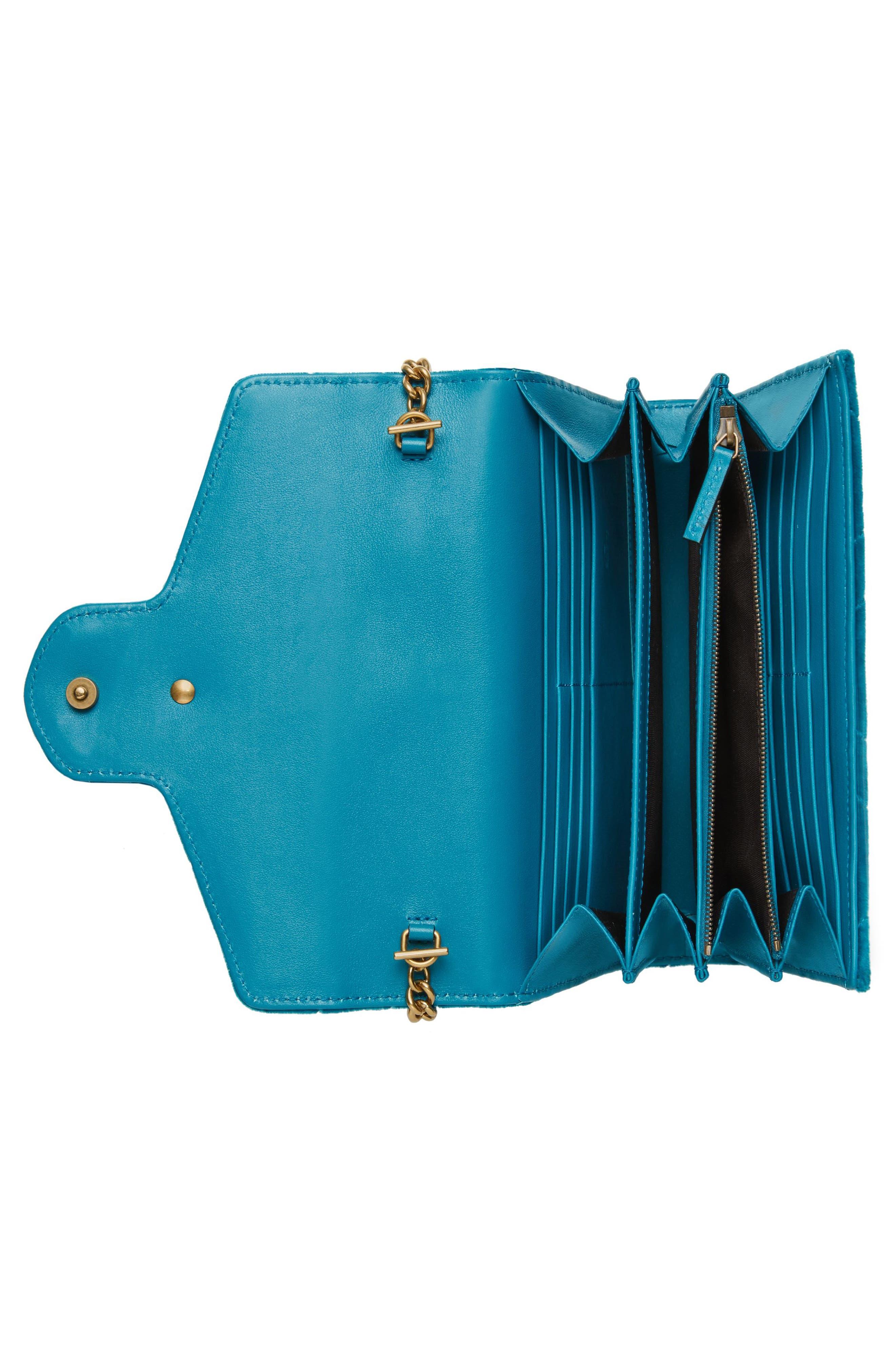 GG Marmont 2.0 Matelassé Velvet Wallet on a Chain,                             Alternate thumbnail 2, color,                             PAVONE/ CYAN