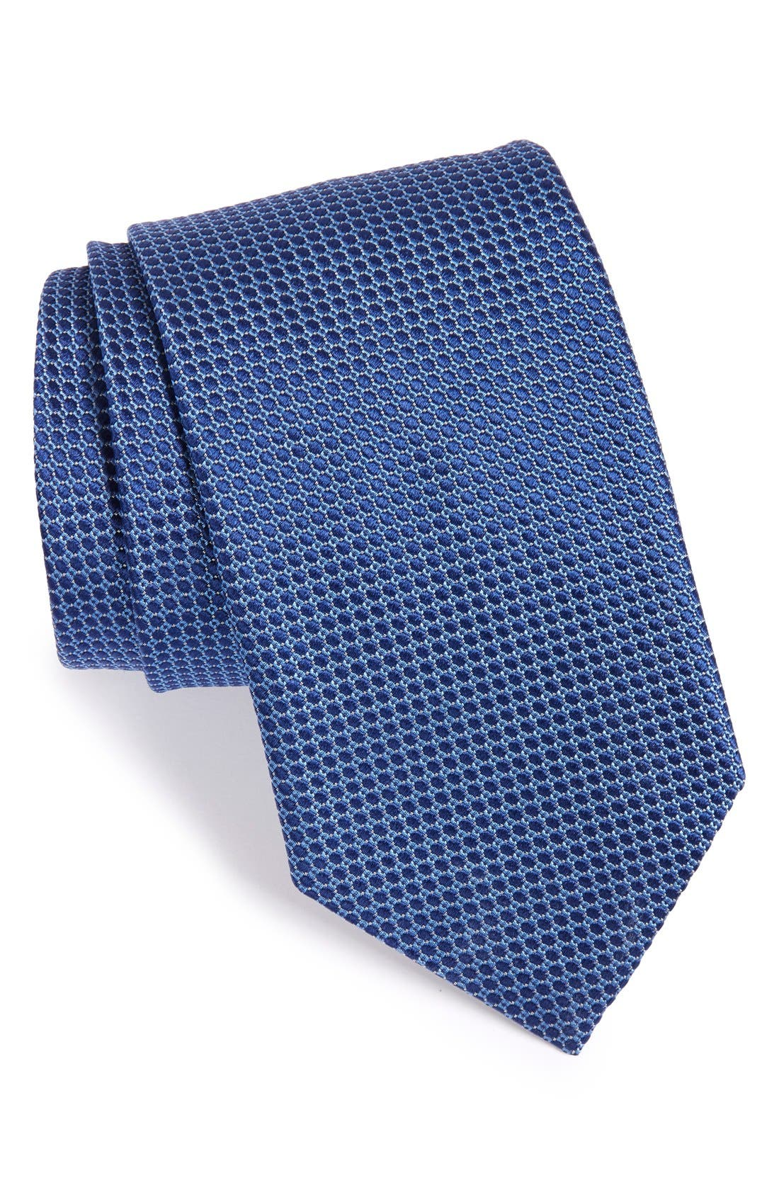 Dot Silk Tie,                         Main,                         color, BLUE