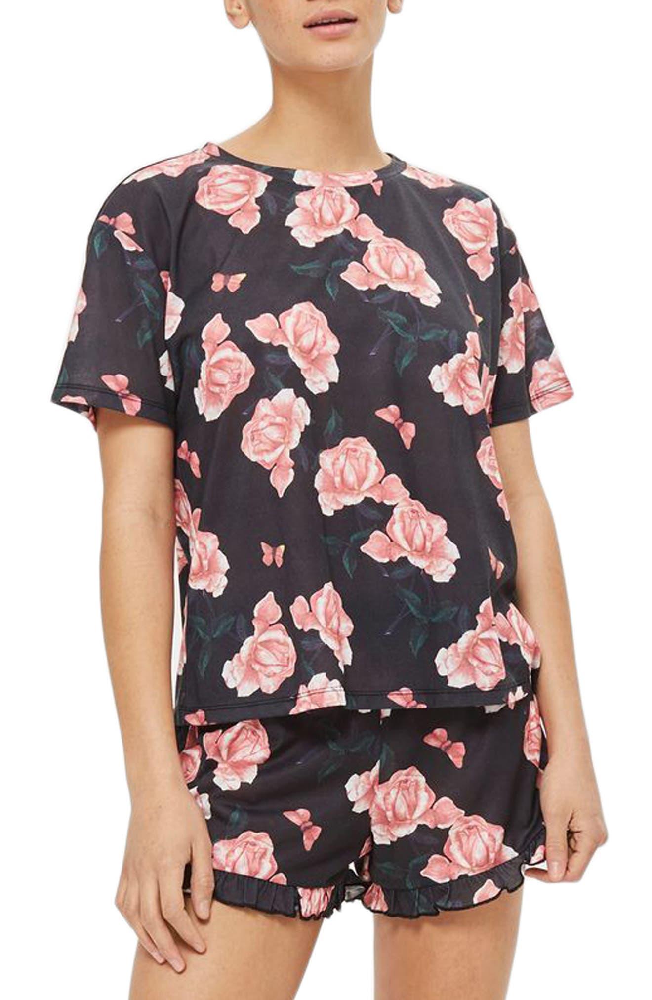 Rose Pajama Top,                             Main thumbnail 1, color,                             001