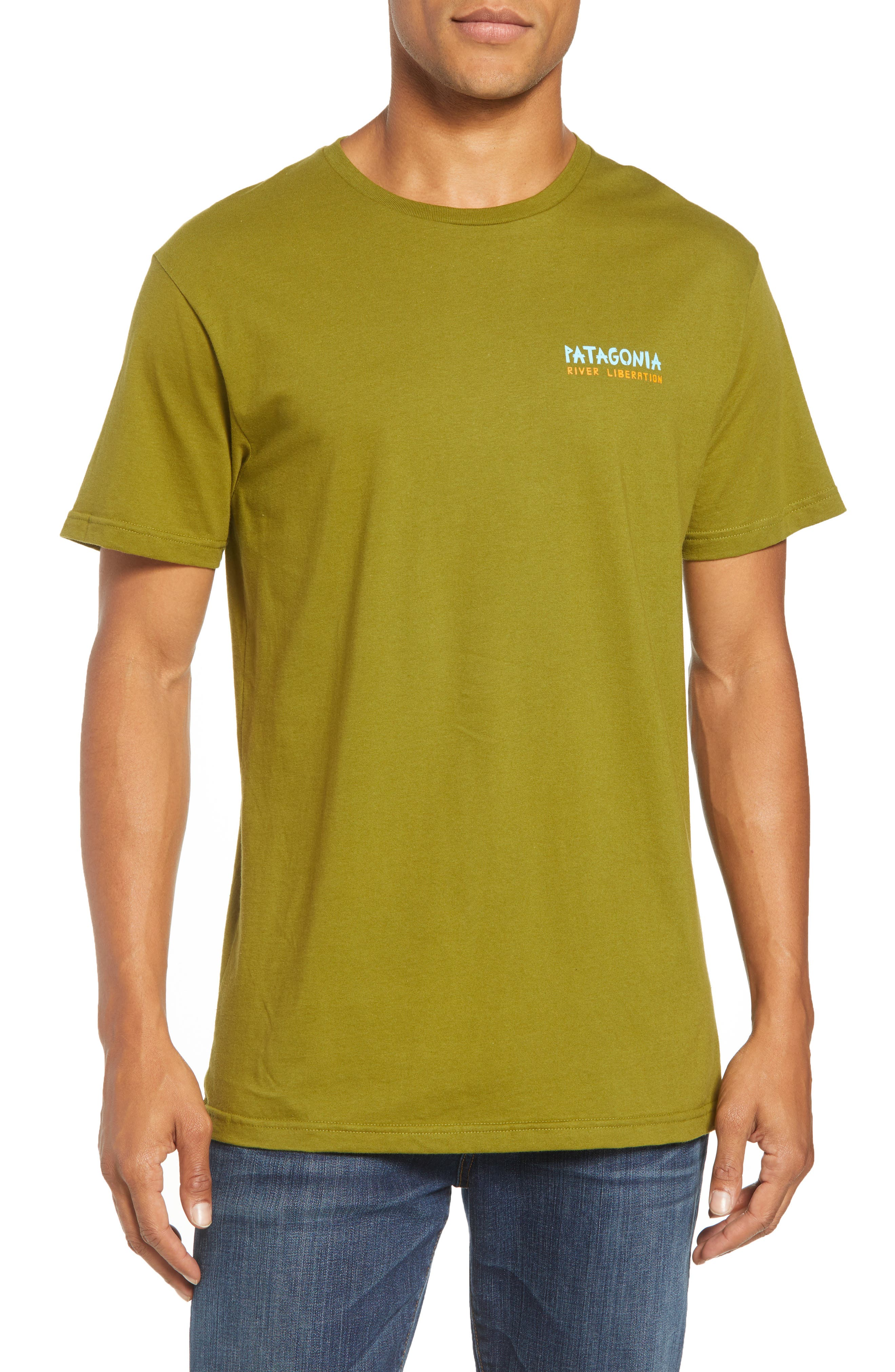 River Liberation Organic Cotton Graphic T-Shirt,                             Main thumbnail 1, color,                             WILLOW HERB GREEN