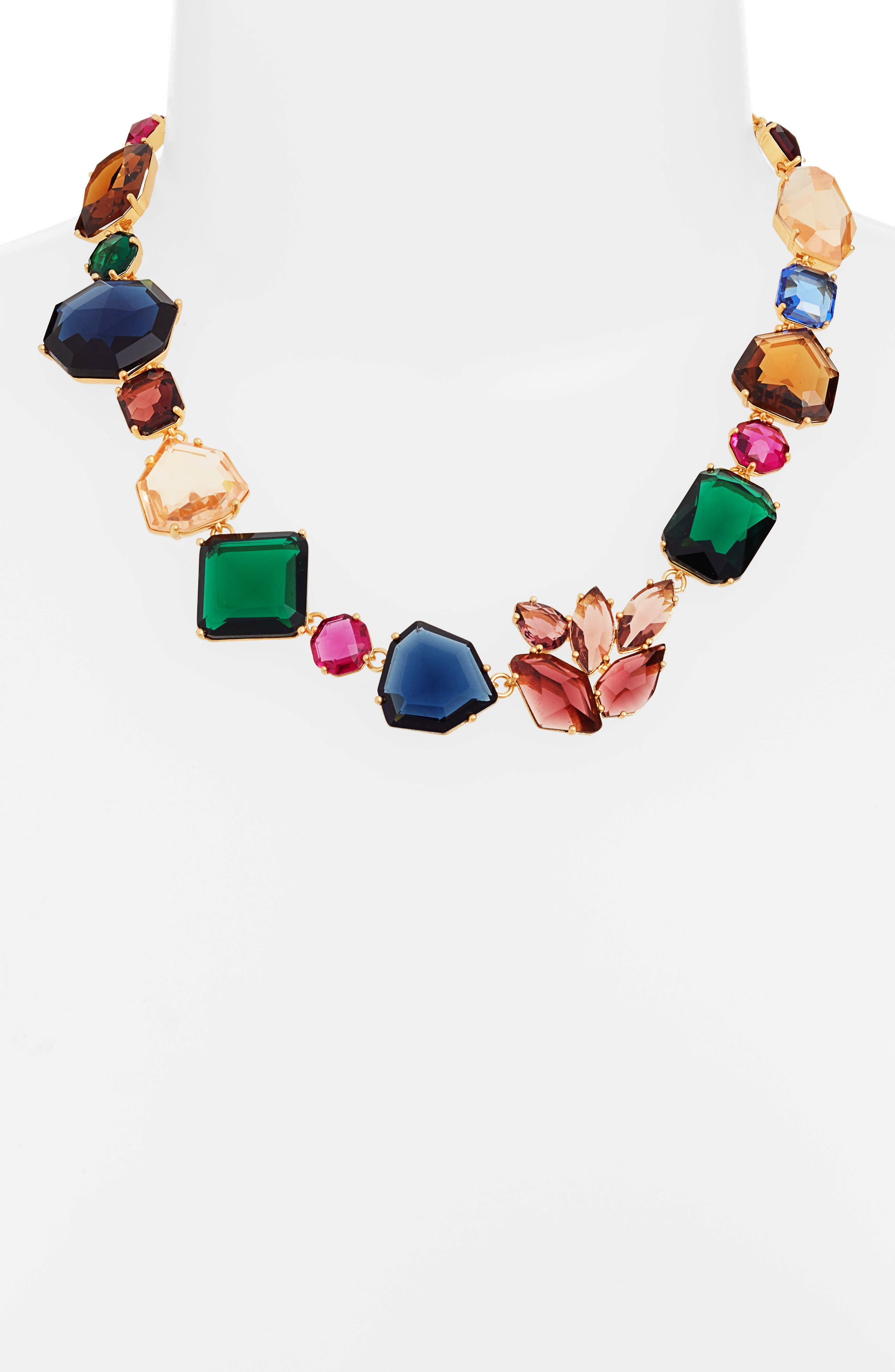 mix stone necklace,                             Alternate thumbnail 2, color,                             GOLD MULTI