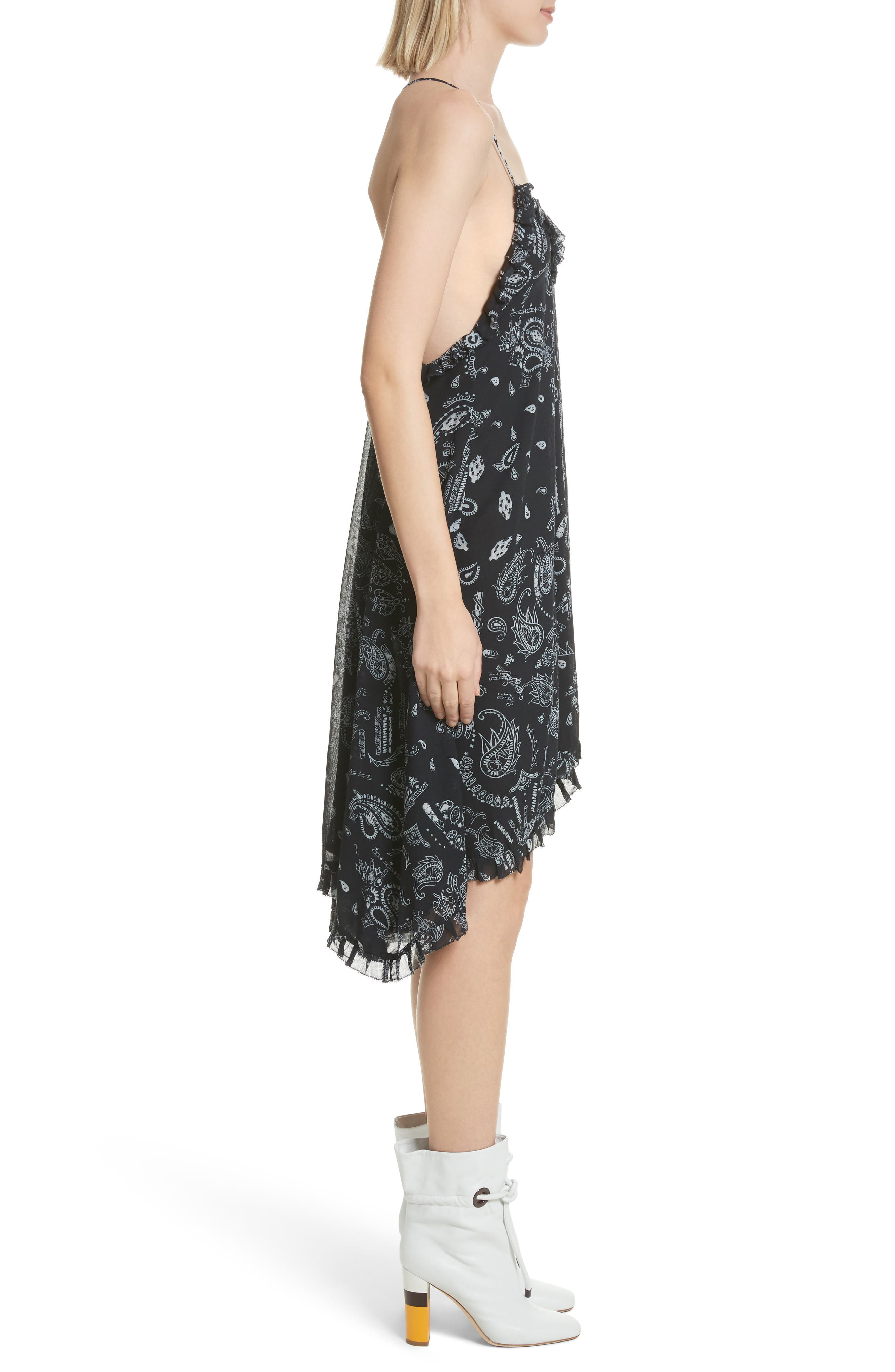 Bagda Bandana Print Ruffle Trim Dress,                             Alternate thumbnail 3, color,