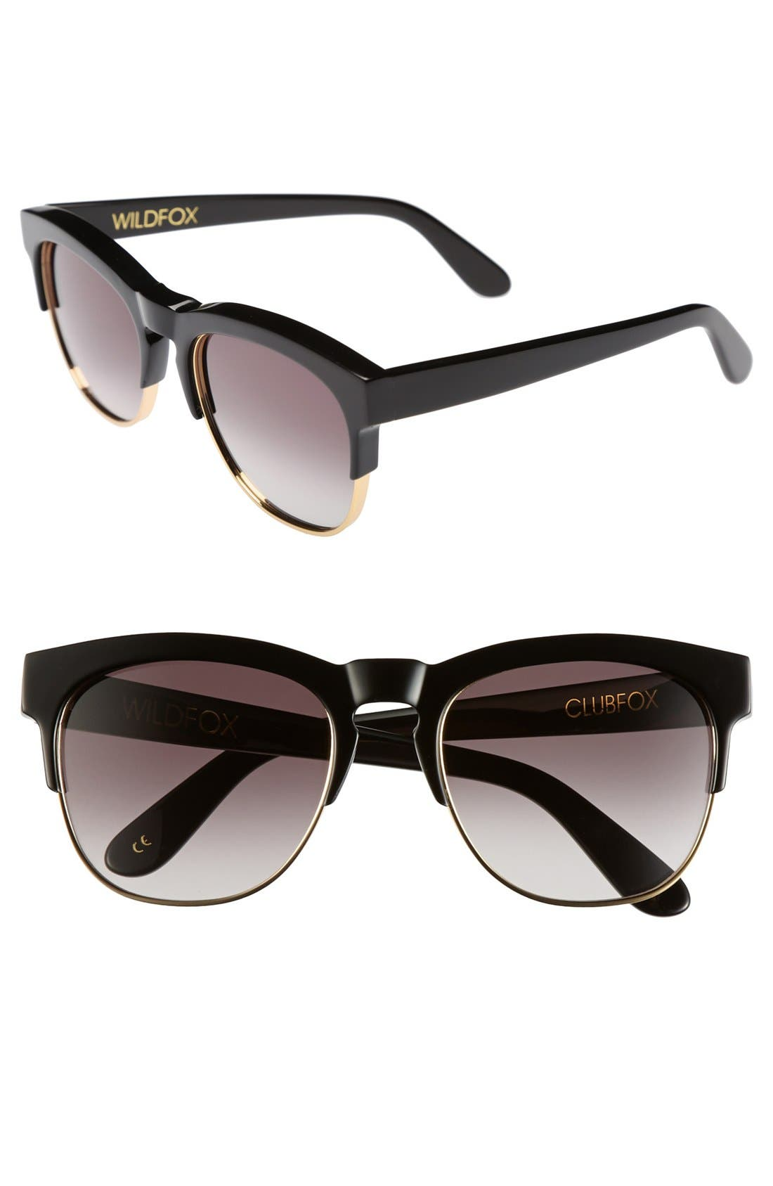 'Club Fox' 52mm Sunglasses,                             Main thumbnail 1, color,                             001