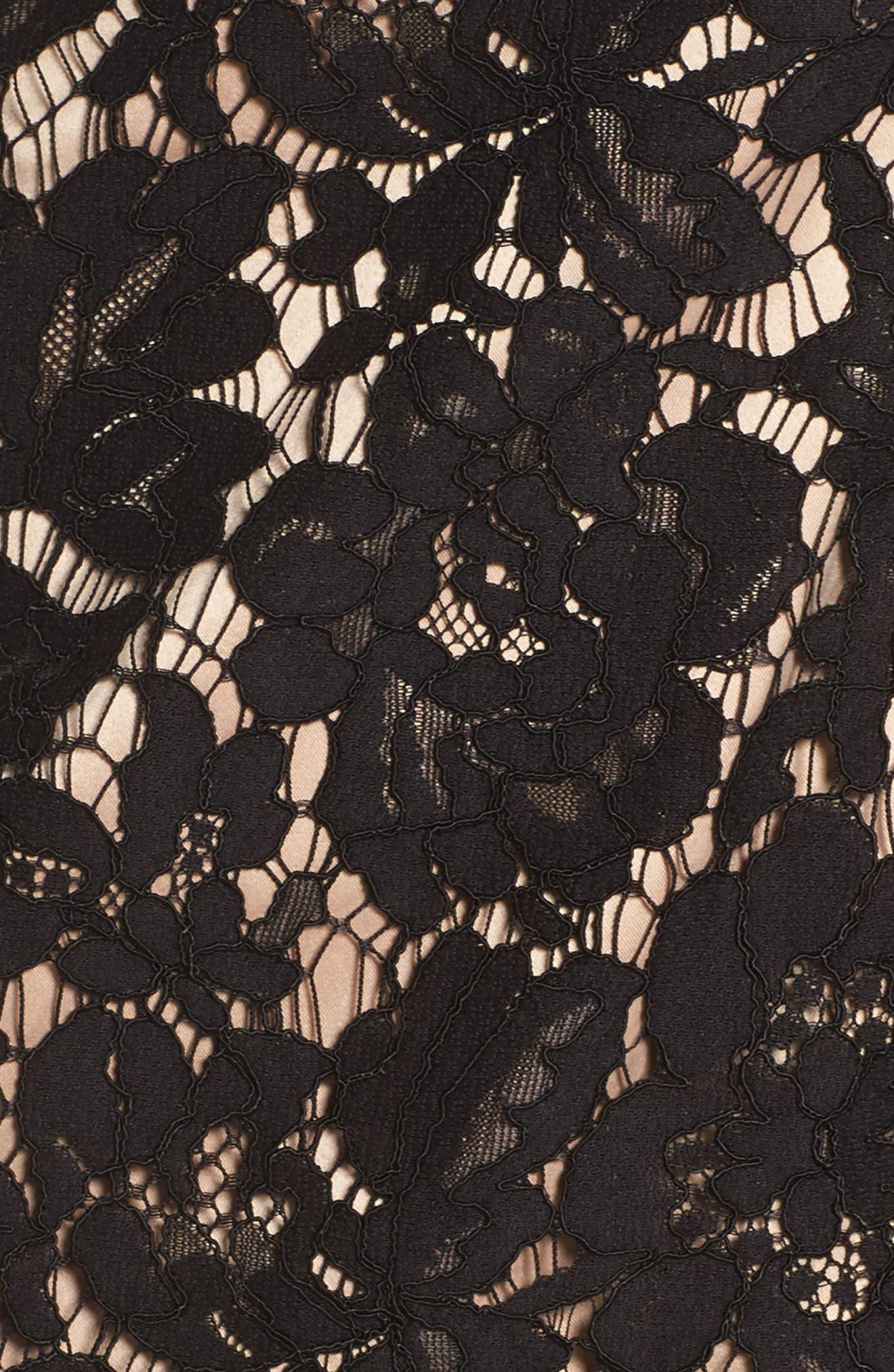 Flounce Sleeve Off the Shoulder Lace Sheath Dress,                             Alternate thumbnail 5, color,                             001