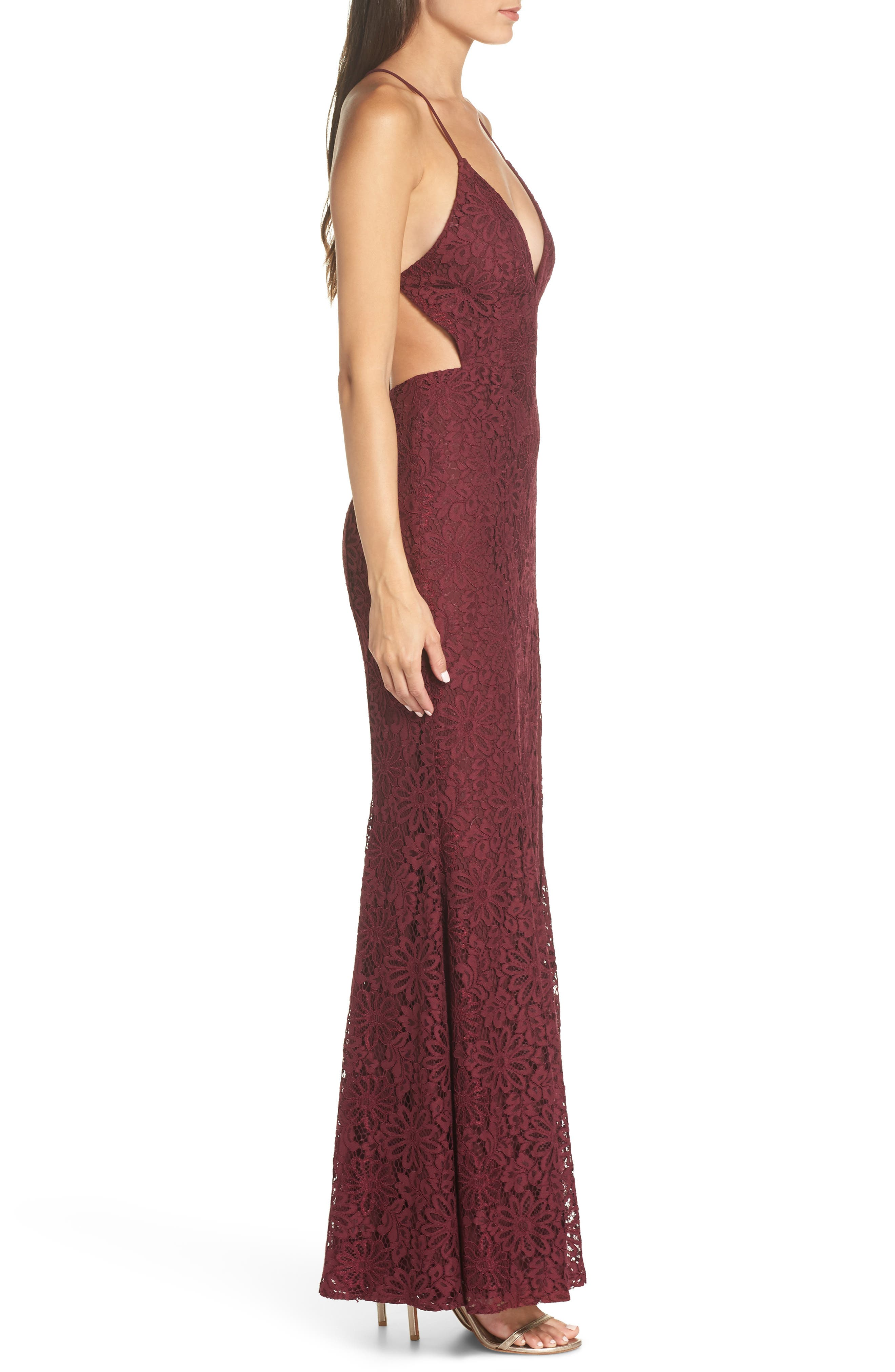 The Yan Gown,                             Alternate thumbnail 3, color,                             WINE