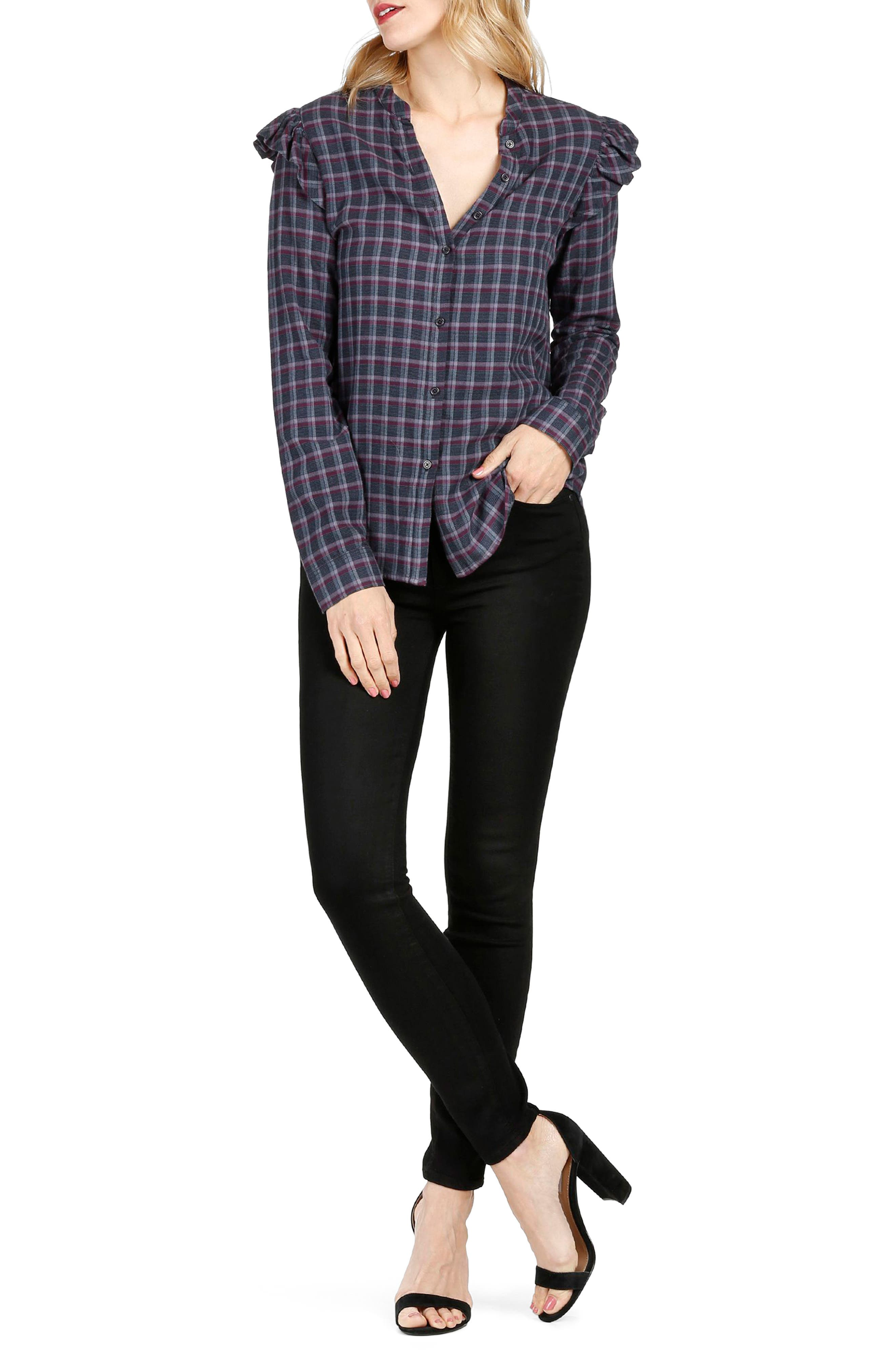 Jenelle Ruffle Plaid Shirt,                             Alternate thumbnail 3, color,                             460
