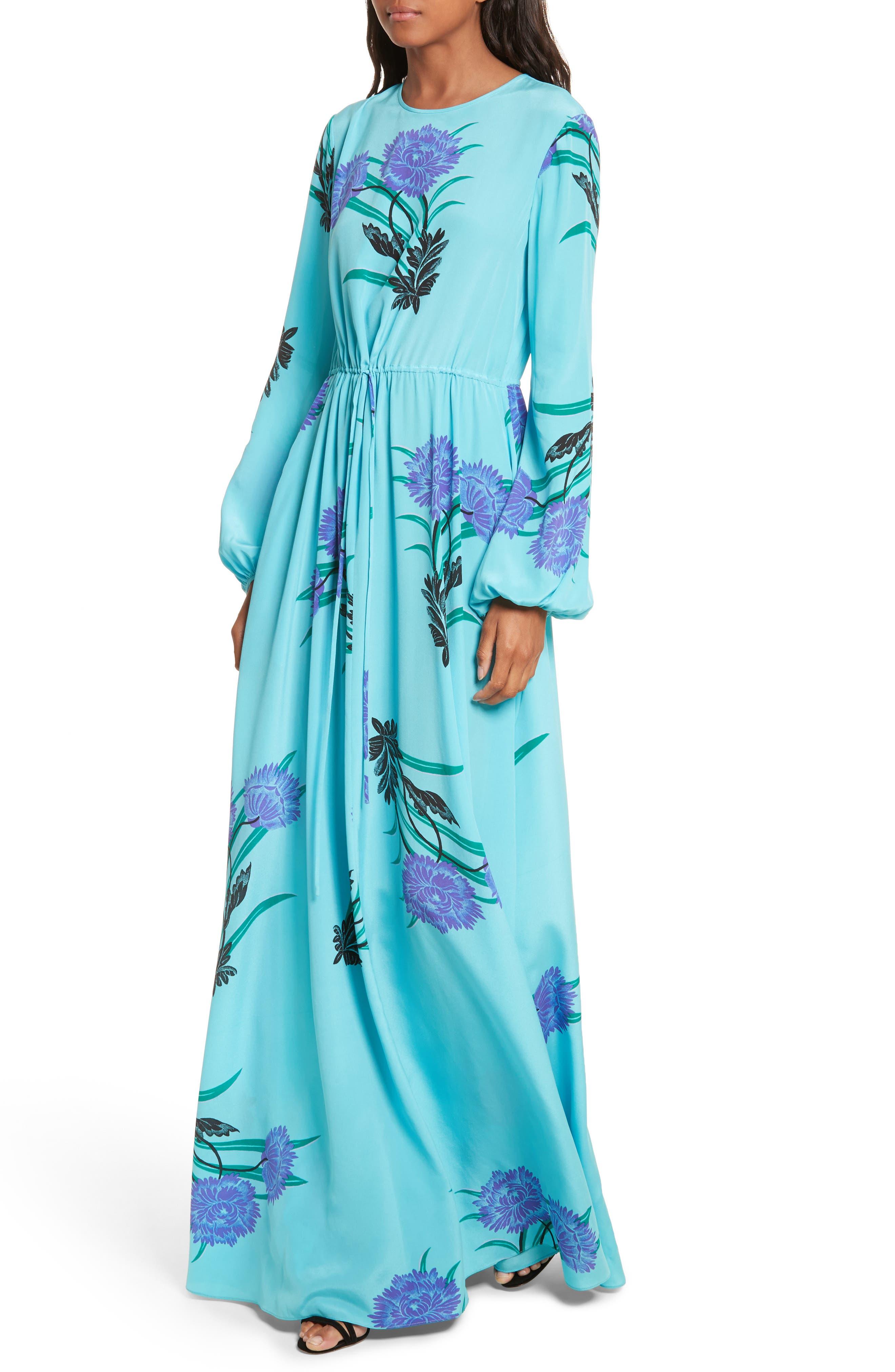 Floral Print Stretch-Silk Maxi Dress,                             Alternate thumbnail 4, color,                             445