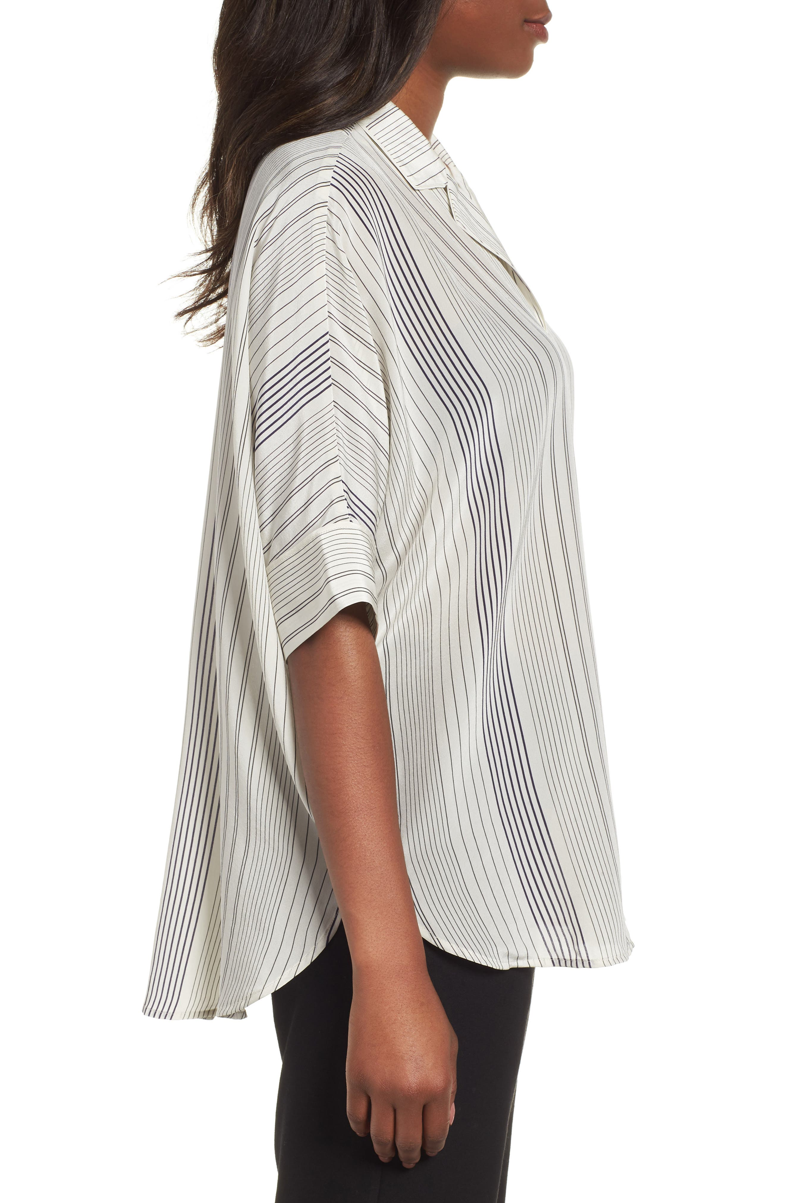 Stripe Silk Shirt,                             Alternate thumbnail 3, color,                             907