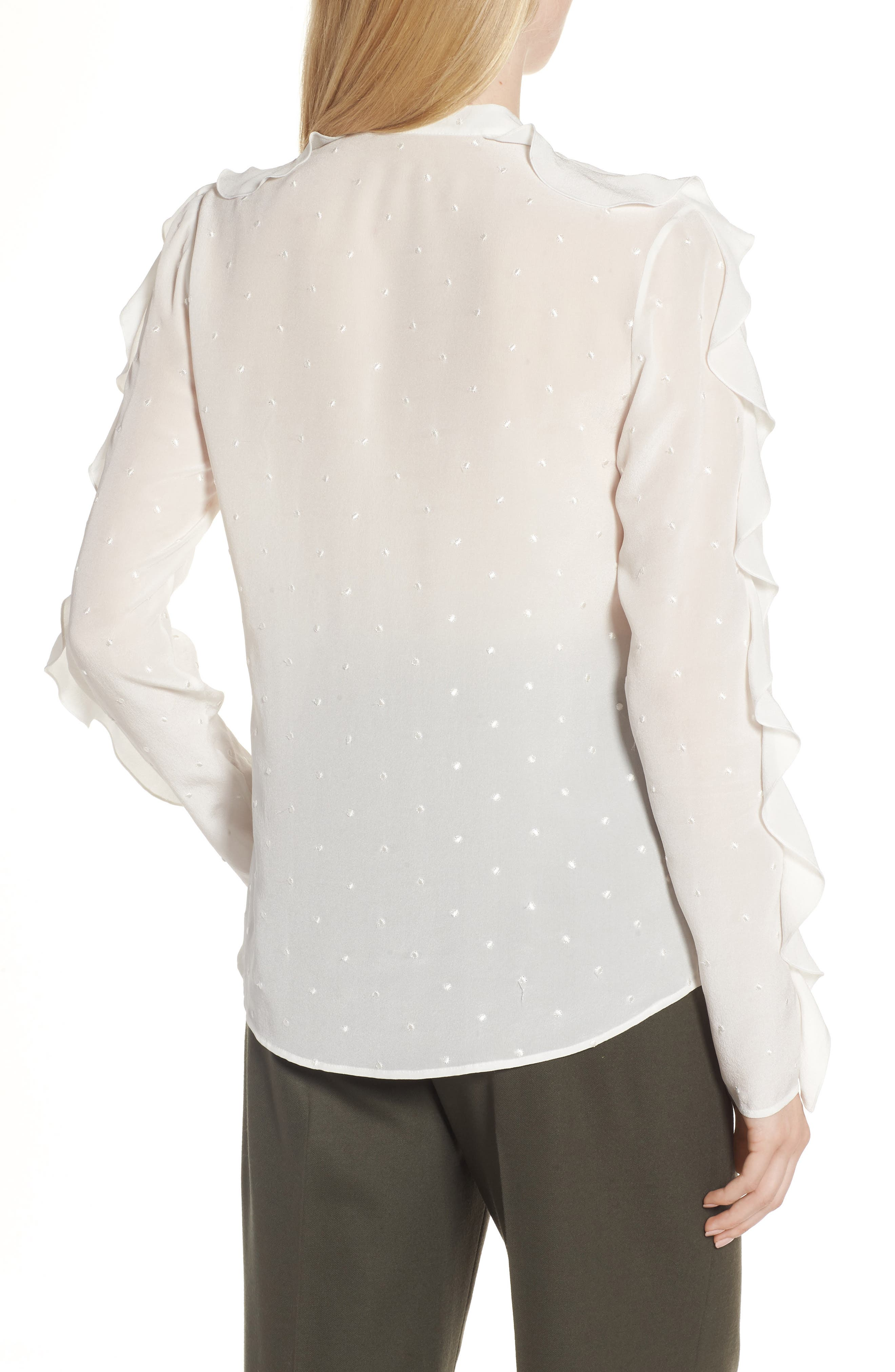Ruffle Detail Embroidered Silk Blouse,                             Alternate thumbnail 2, color,                             900