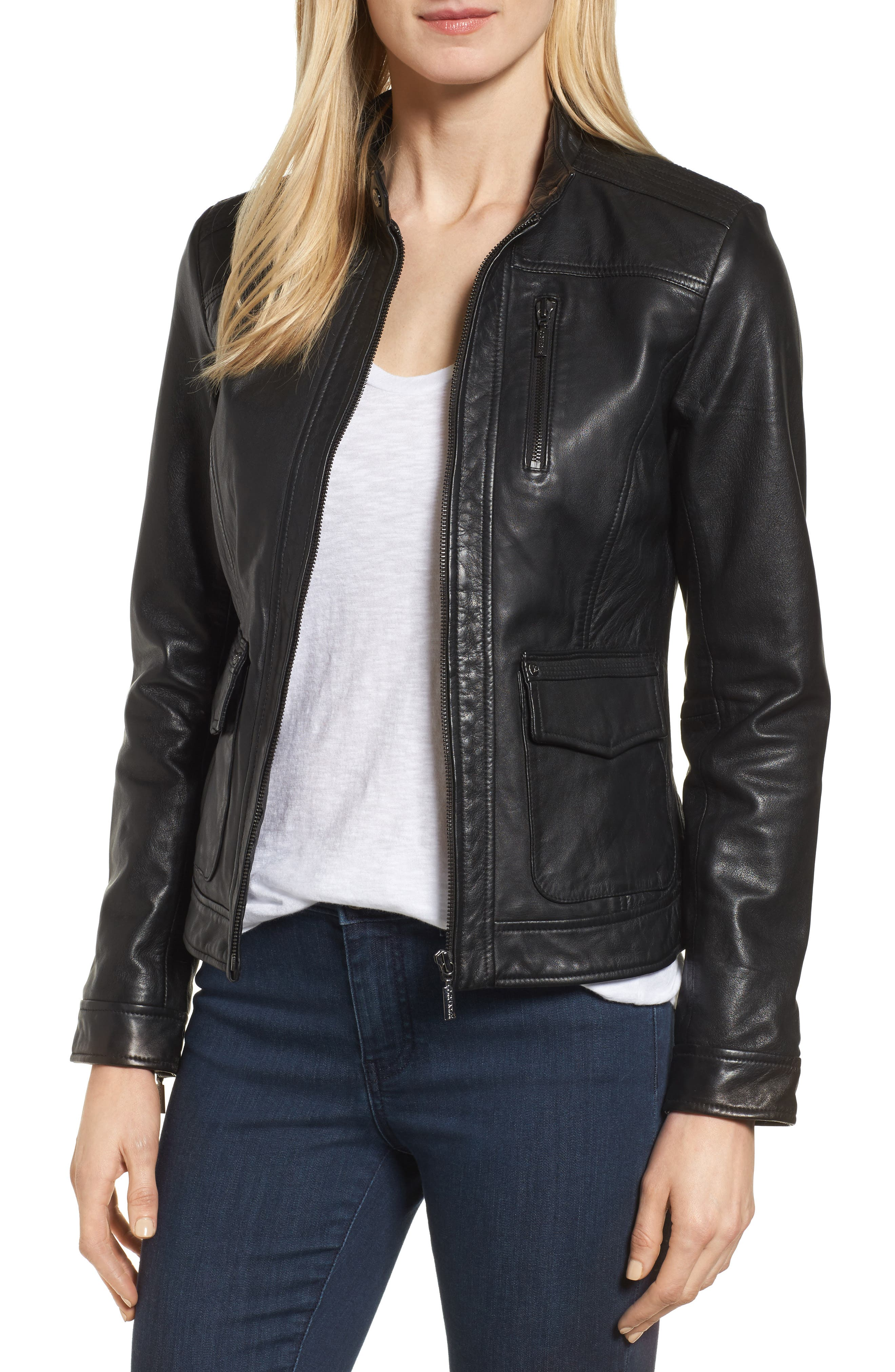 Kerwin Pocket Detail Leather Jacket,                             Main thumbnail 1, color,                             001