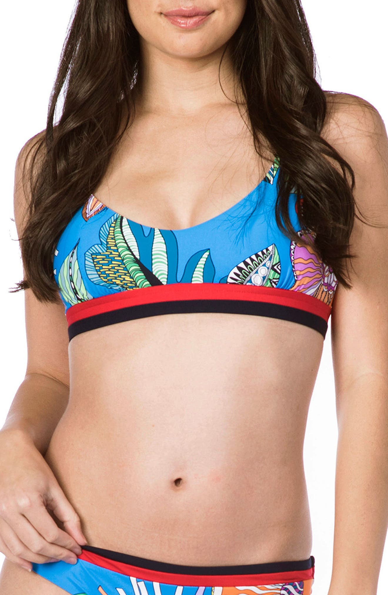 Trina Turk Tahiti Tropical Bralette Bikini Top, Blue