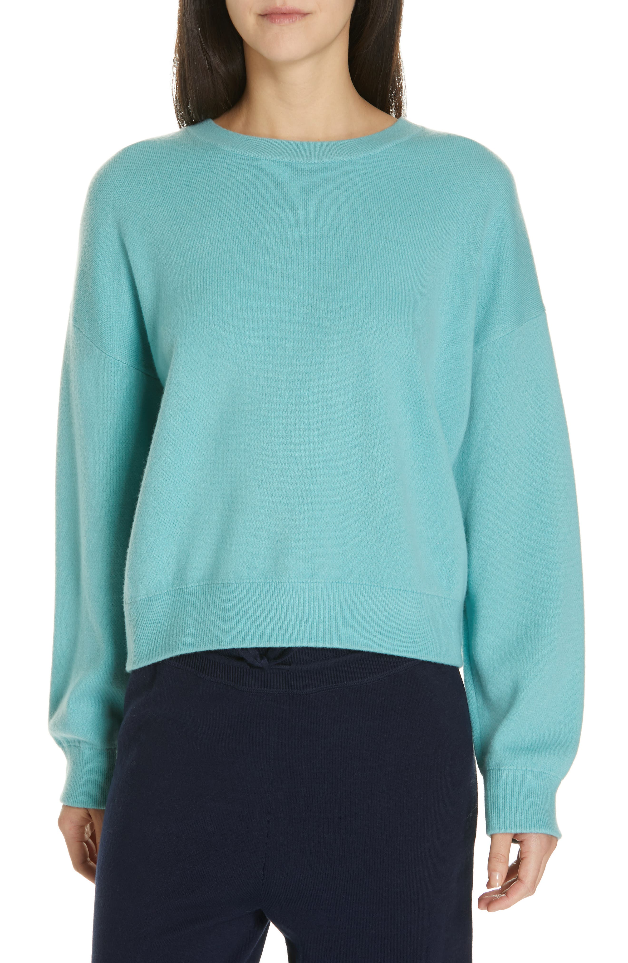 Vince Double Layer Sweater, Blue/green