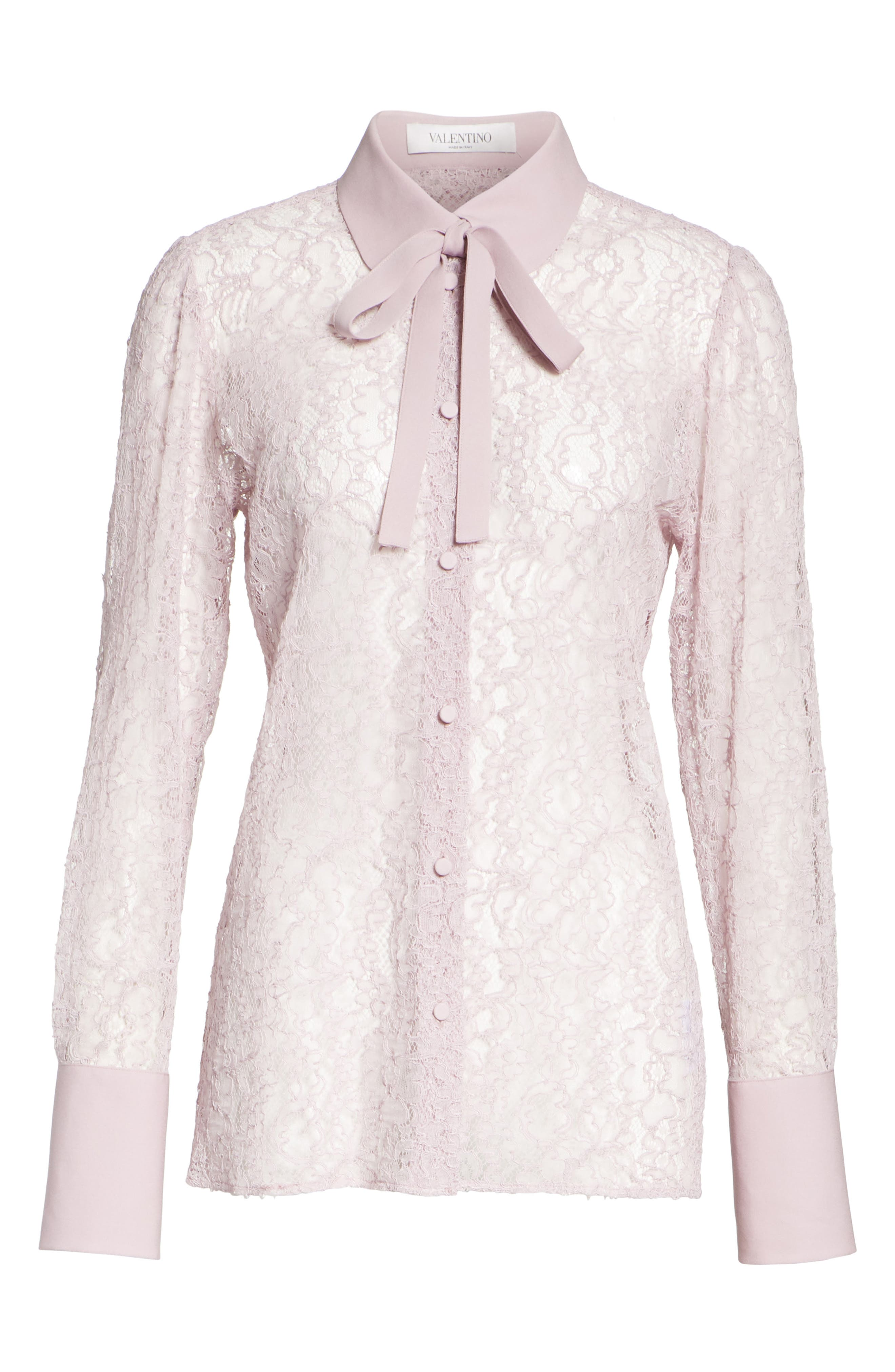 VALENTINO,                             Tie Neck Chantilly Lace Shirt,                             Alternate thumbnail 6, color,                             650