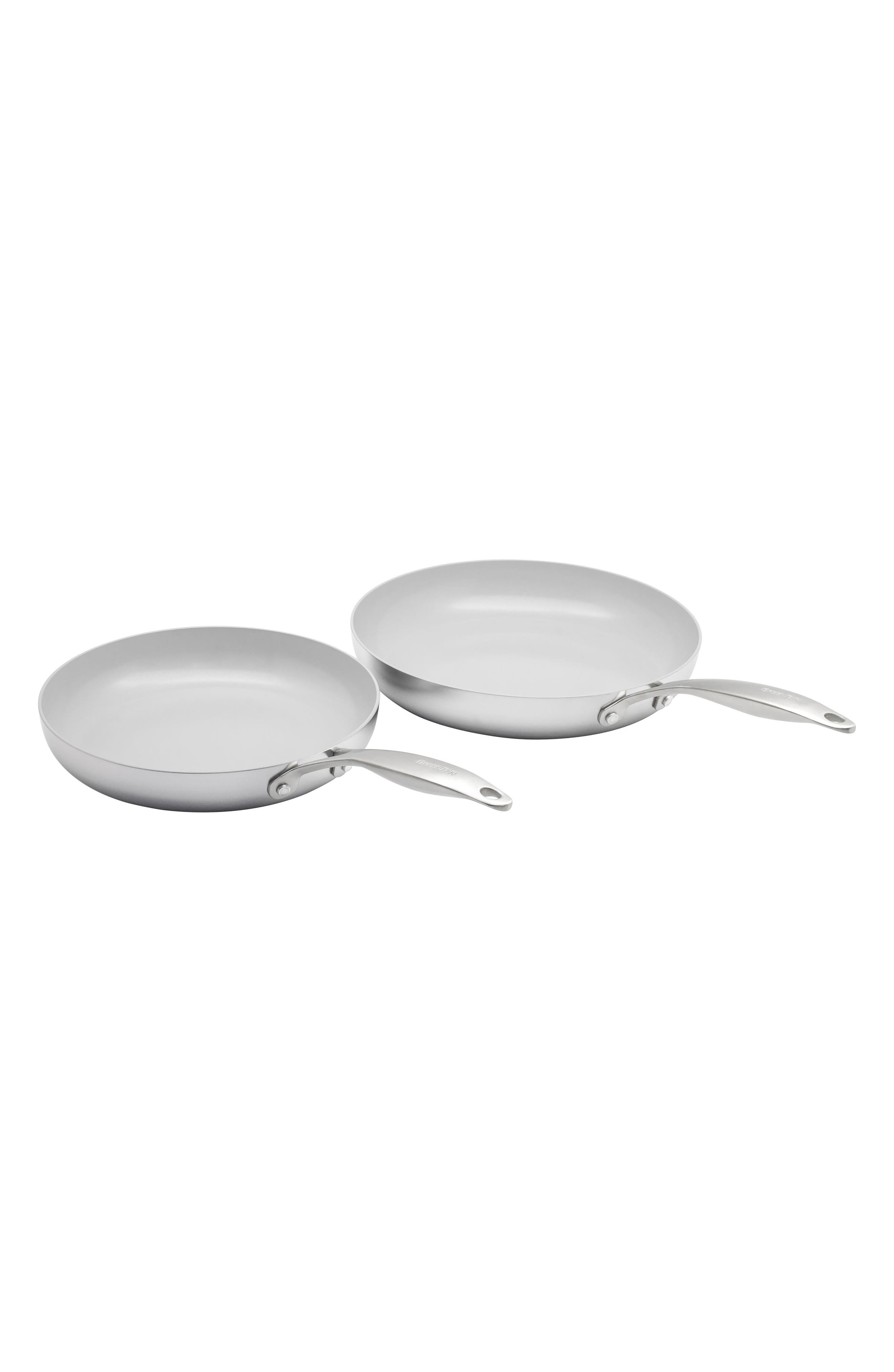 GREENPAN,                             Venice Pro 10-Inch & 12-Inch Multilayer Stainless Steel Ceramic Nonstick Frying Pan Set,                             Main thumbnail 1, color,                             STAINLESS STEEL