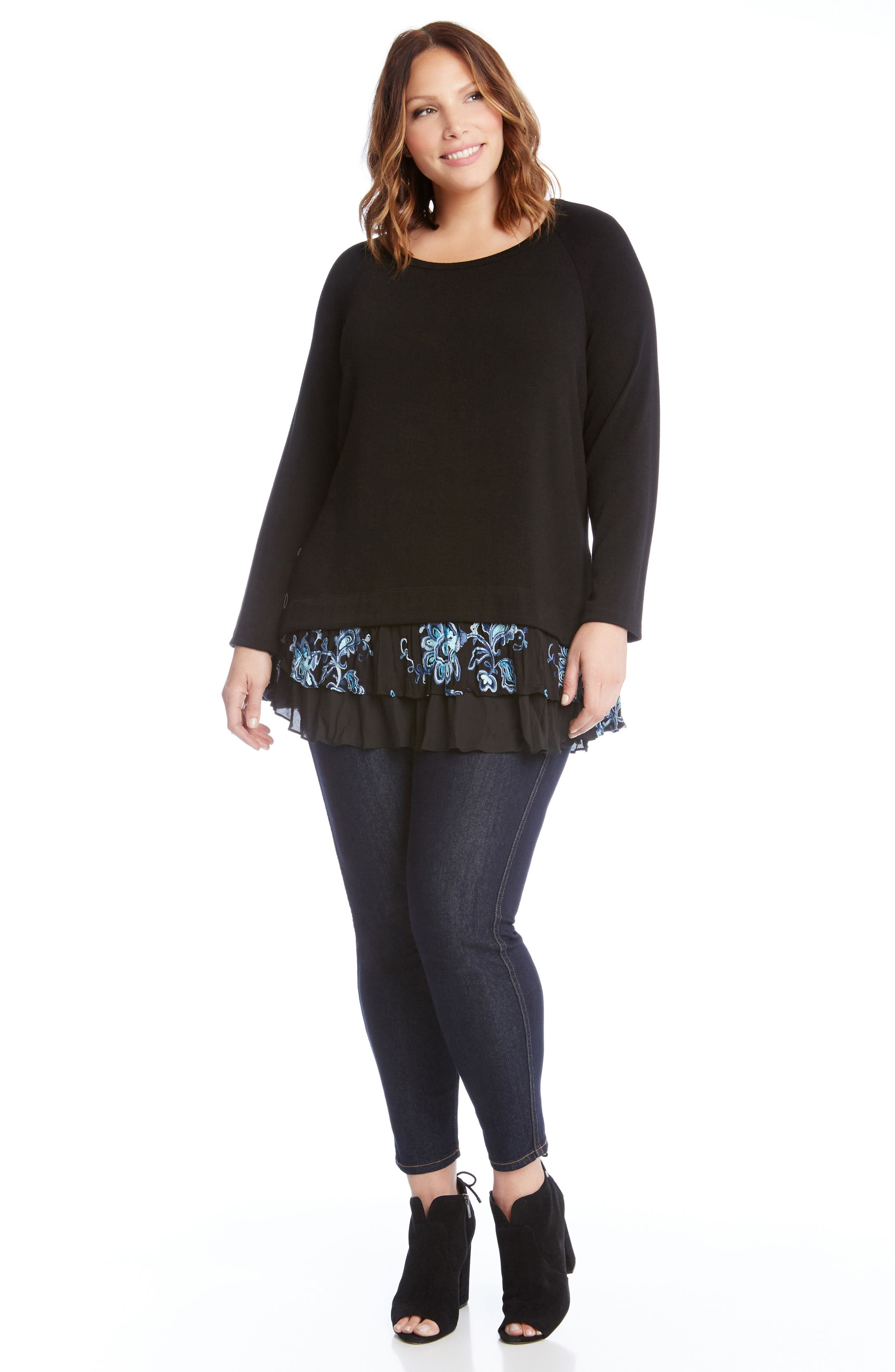 Flower Embroidery Layered Hem Top,                             Alternate thumbnail 3, color,                             001