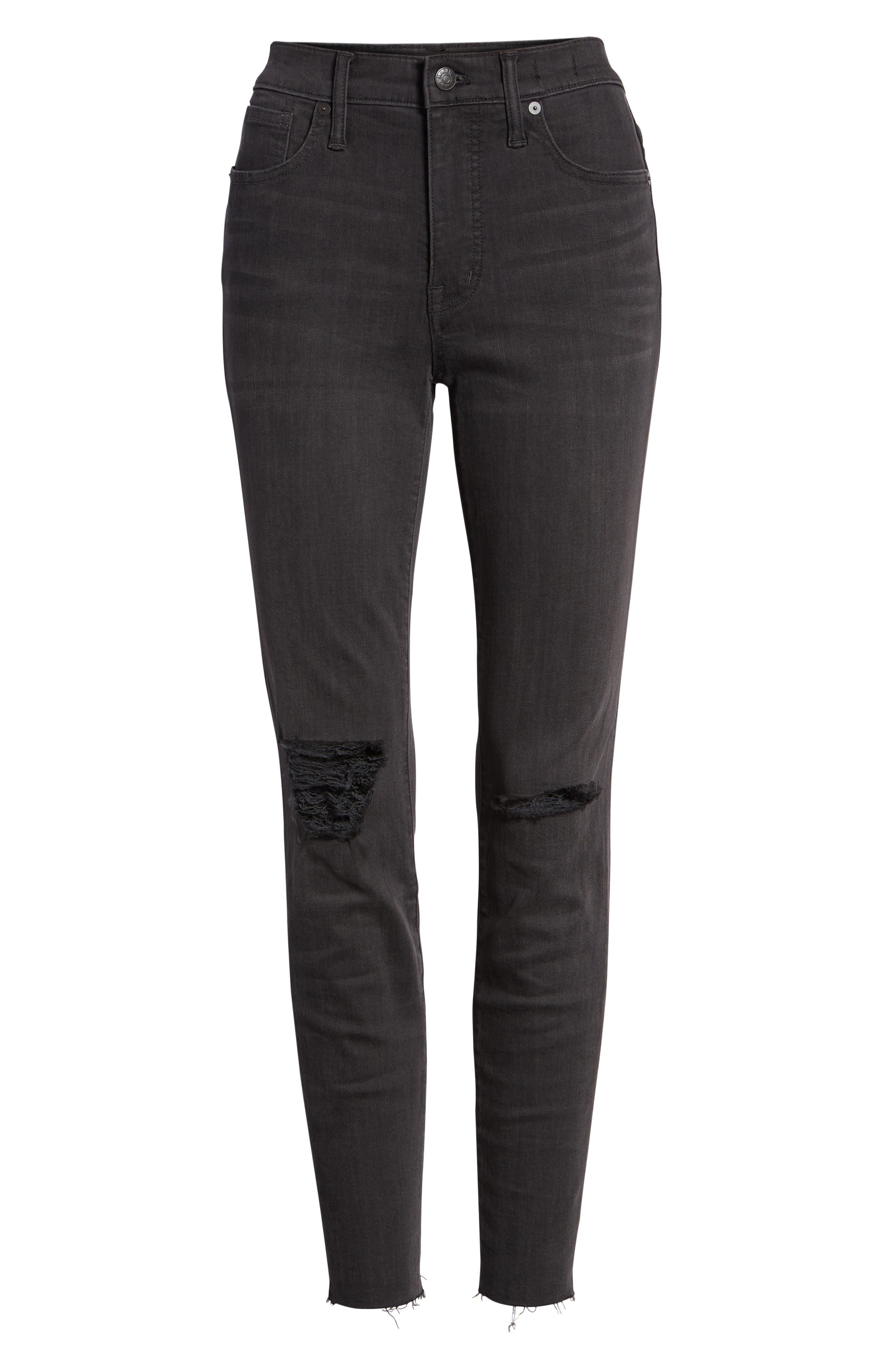 9-Inch High Waist Skinny Jeans,                             Alternate thumbnail 4, color,                             BLACK SEA