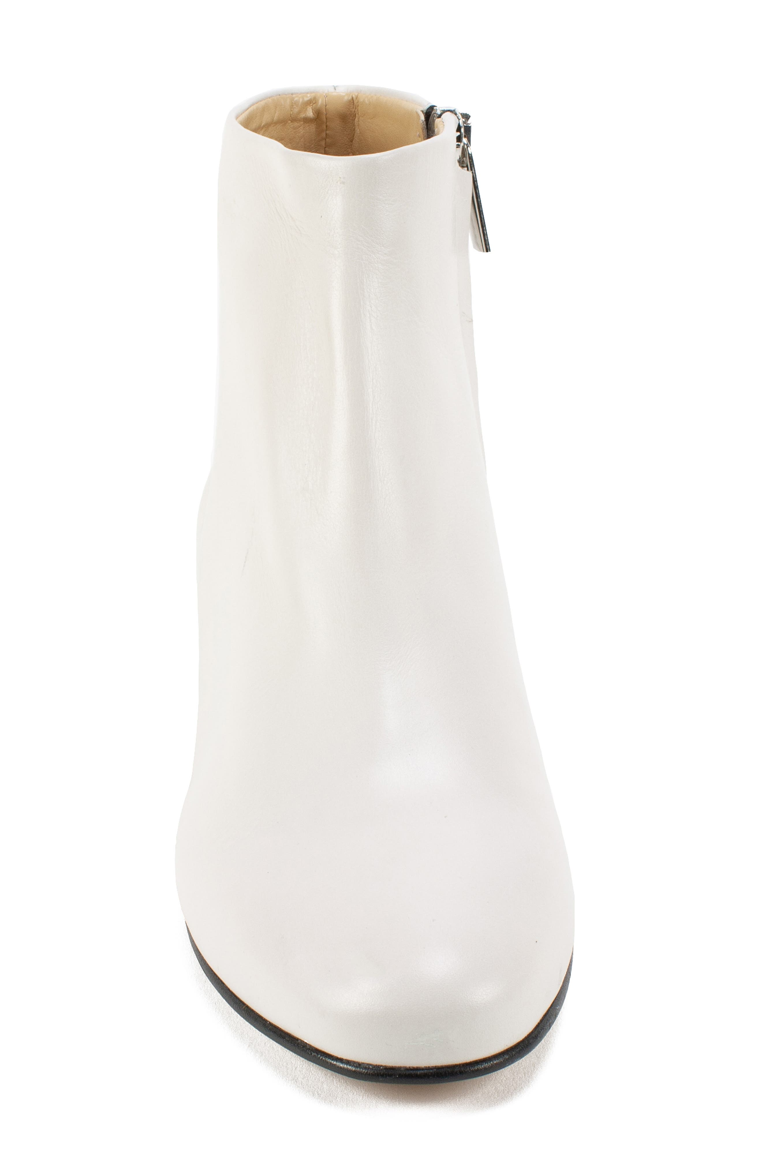 by White Mountain Jordie Block Heel Bootie,                             Alternate thumbnail 4, color,                             WHITE LEATHER