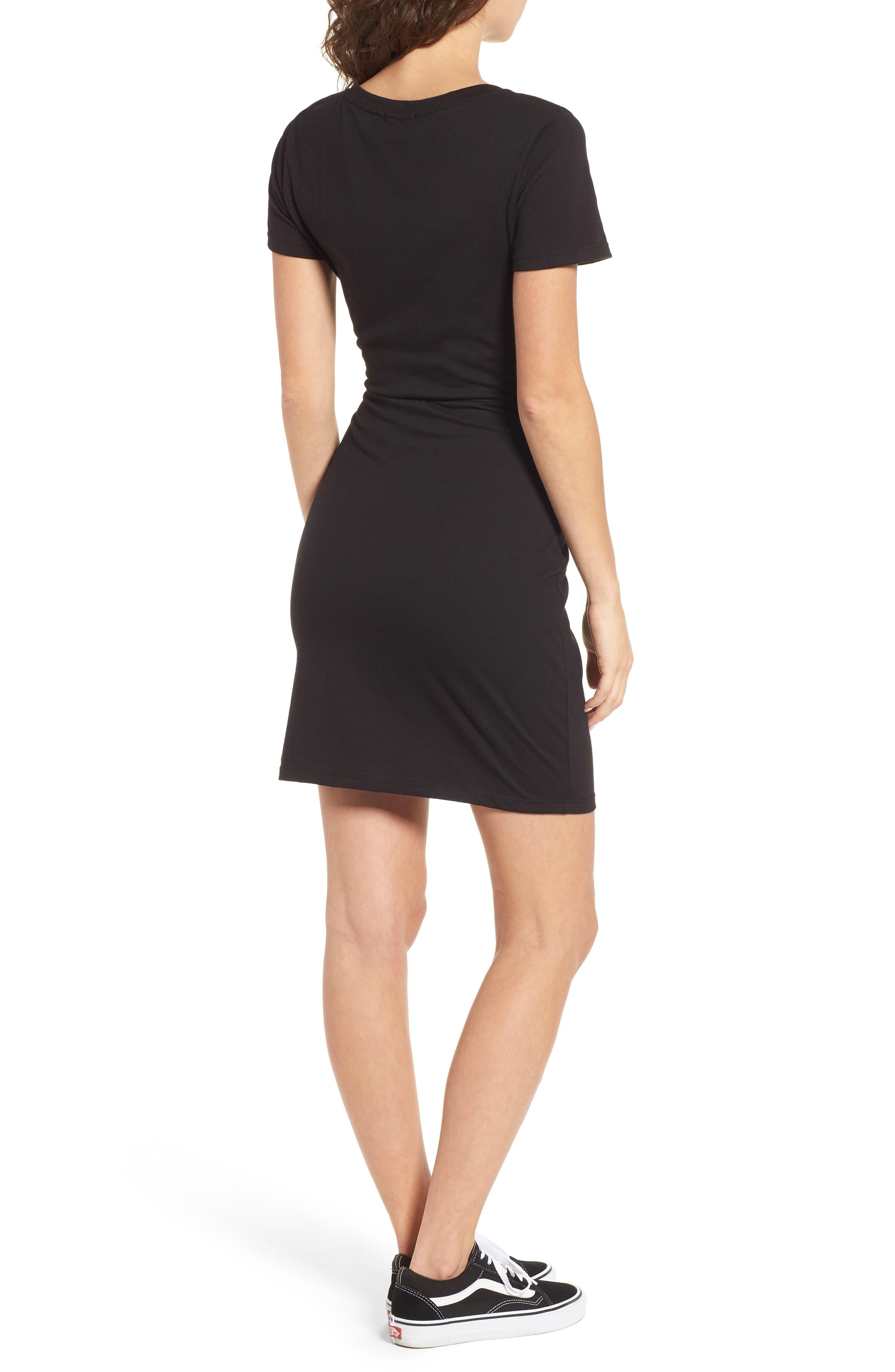Knot Front Cutout T-Shirt Dress,                             Alternate thumbnail 2, color,                             BLACK