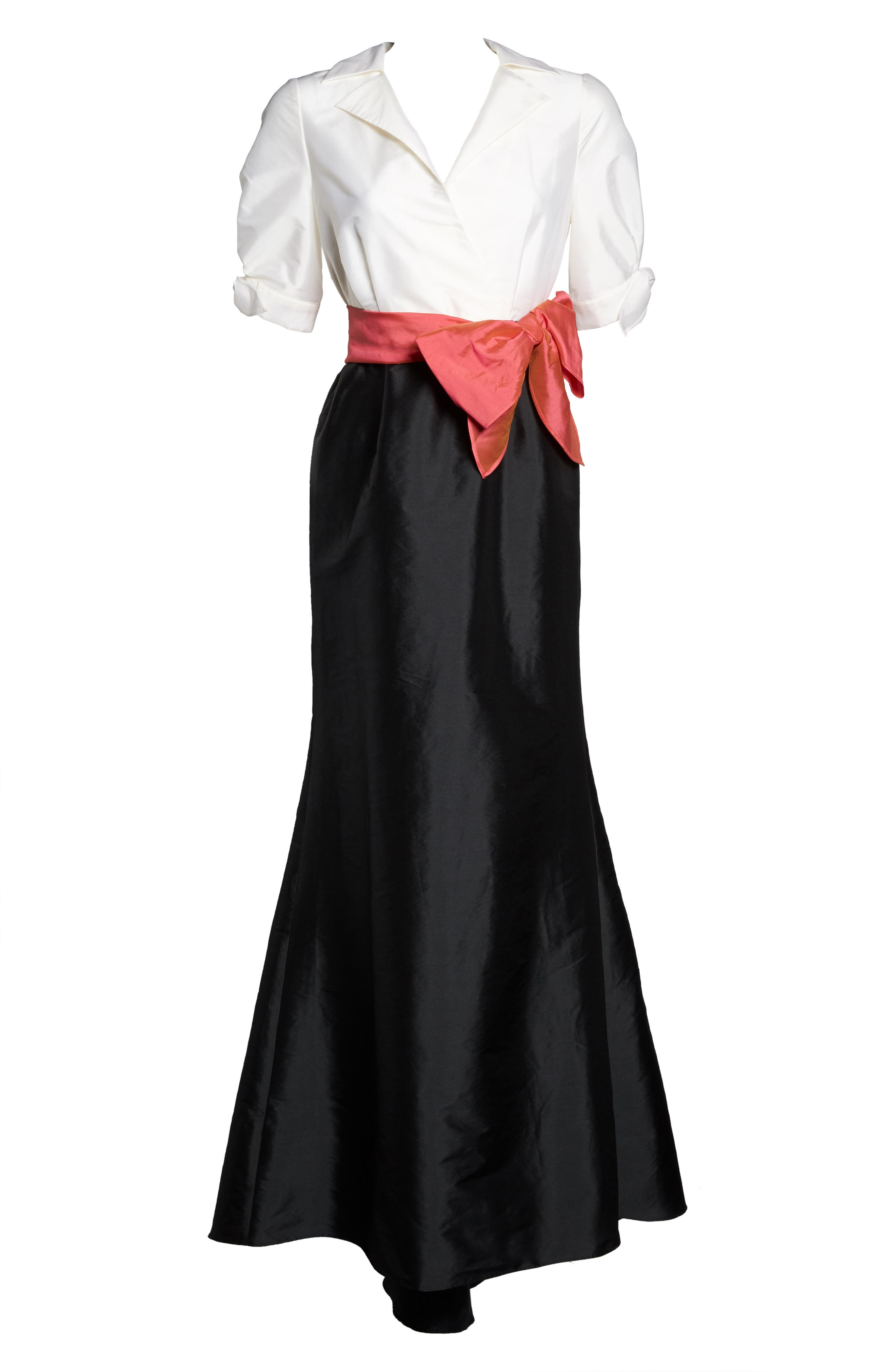 Adrianna Pappell Taffeta Mermaid Gown with Train,                             Alternate thumbnail 6, color,                             001